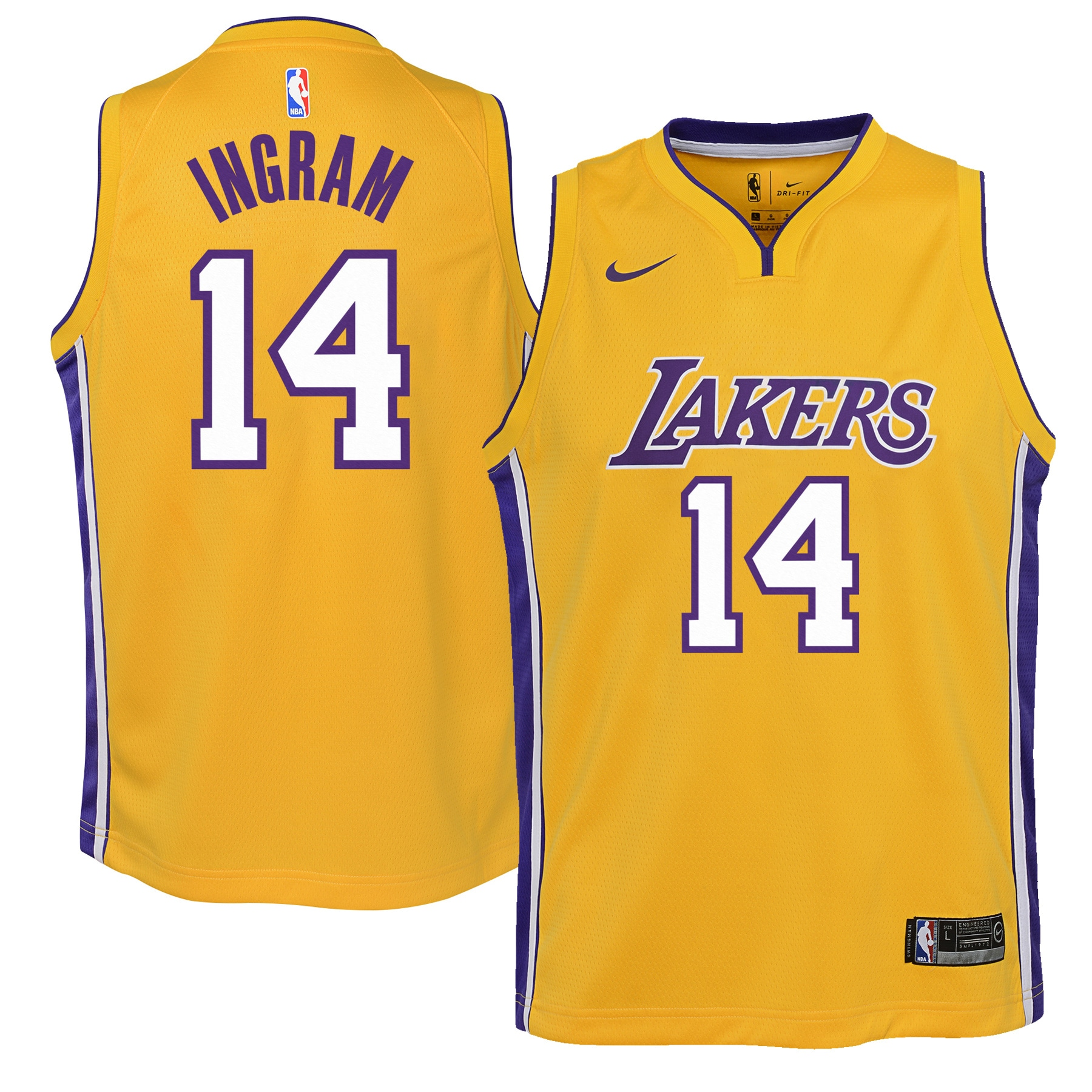 Brandon Ingram Los Angeles Lakers Nike Youth Swingman Jersey Yellow - Icon Edition