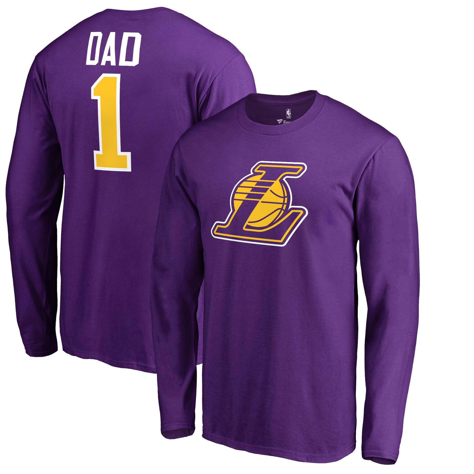 Los Angeles Lakers Fanatics Branded Big & Tall #1 Dad Long Sleeve T-Shirt - Purple