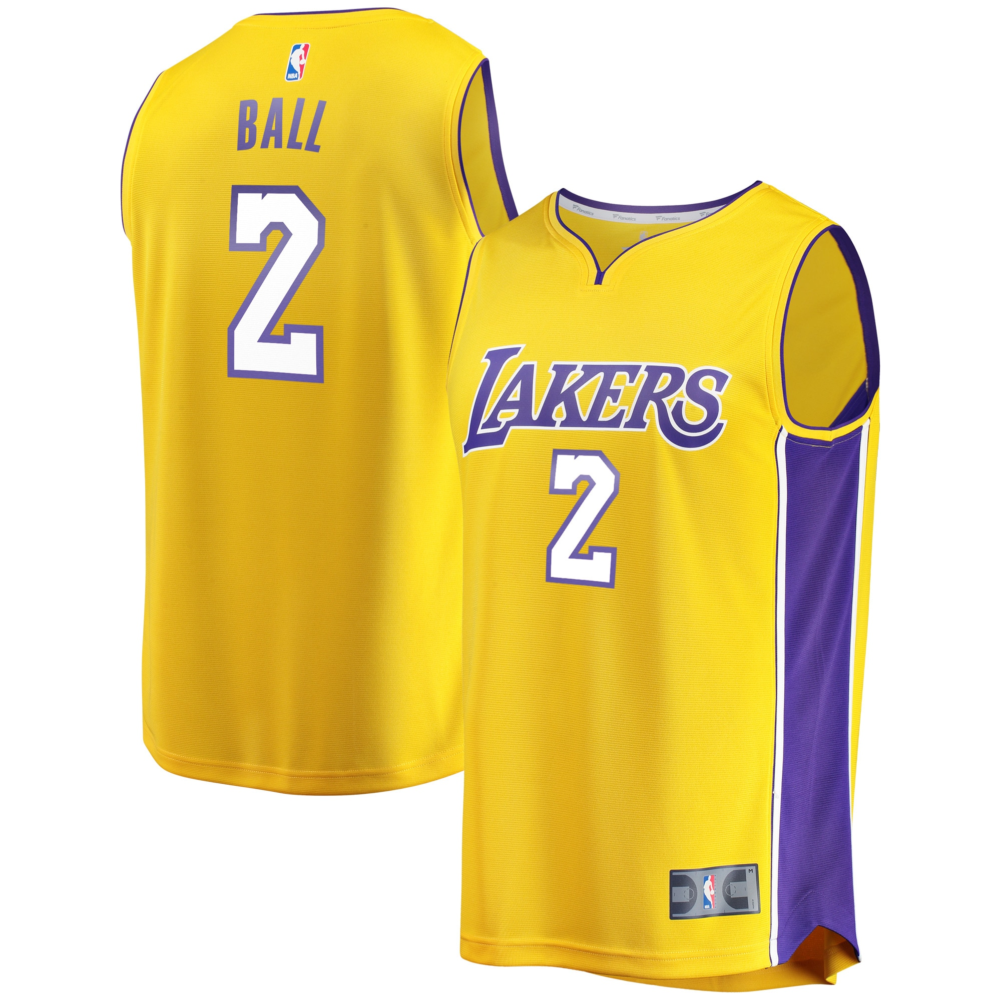 Lonzo Ball Los Angeles Lakers Fanatics Branded Fast Break Replica Jersey Gold - Icon Edition