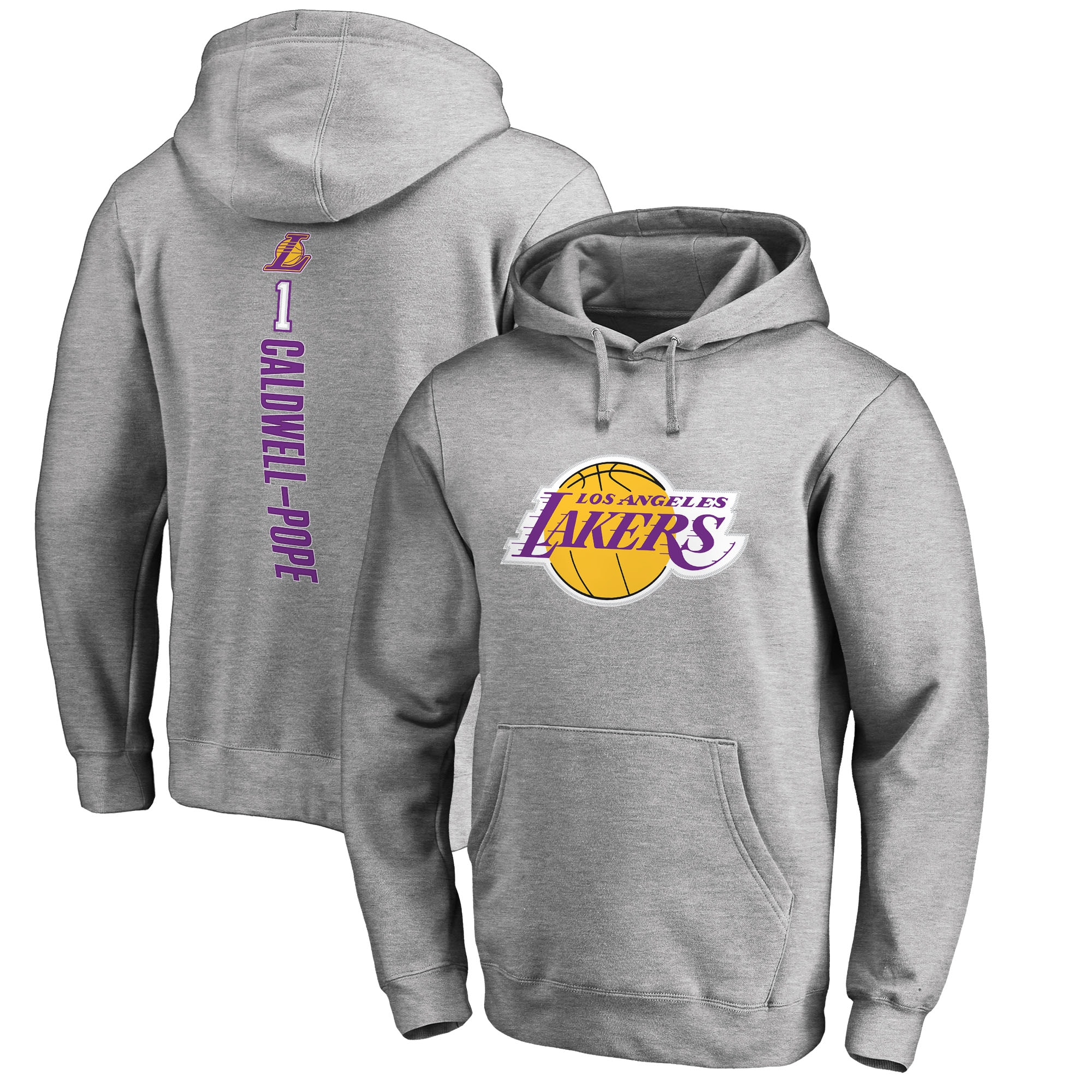 Kentavious Caldwell-Pope Los Angeles Lakers Fanatics Branded Backer Name and Number Pullover Hoodie - Heathered Gray