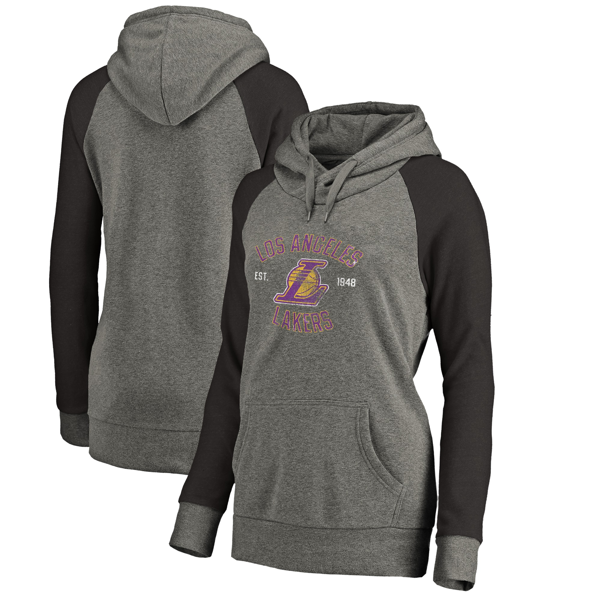Los Angeles Lakers Fanatics Branded Women's Heritage Tri-Blend Raglan Plus Size Pullover Hoodie - Heathered Gray