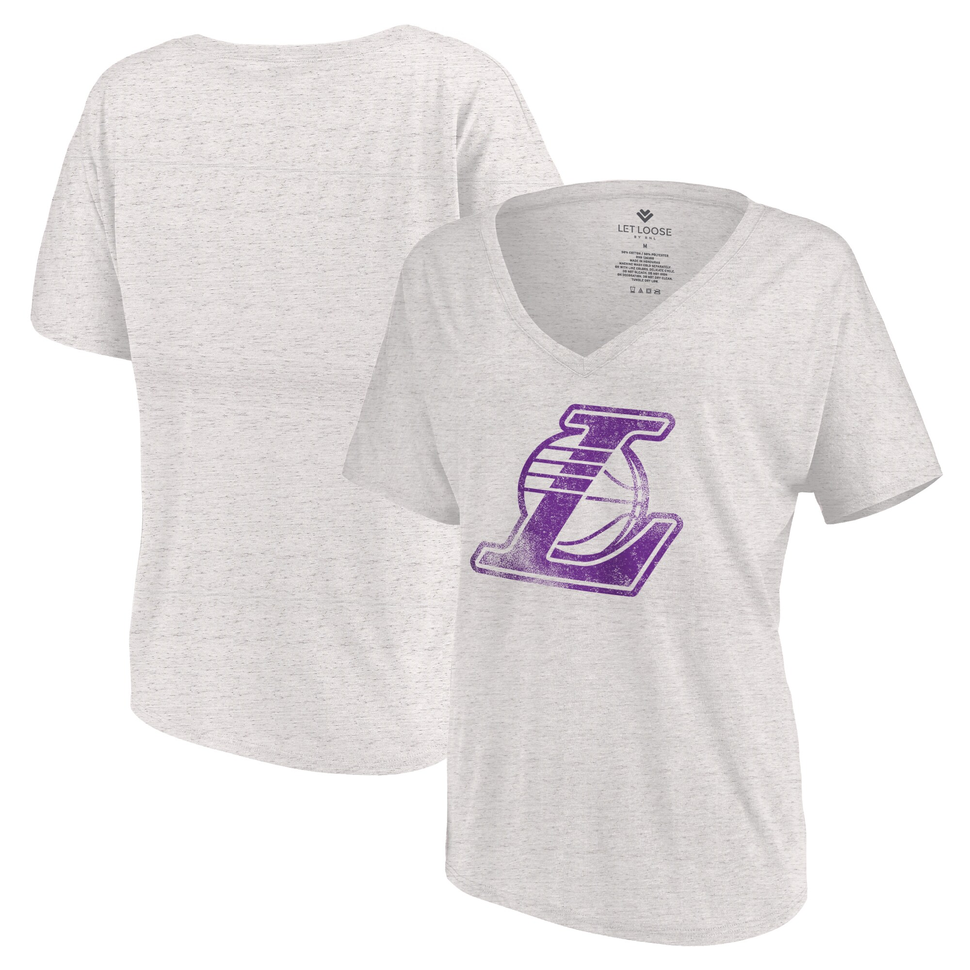 Los Angeles Lakers Let Loose by RNL Women's Distressed Primary Logo V-Neck T-Shirt - White Marble