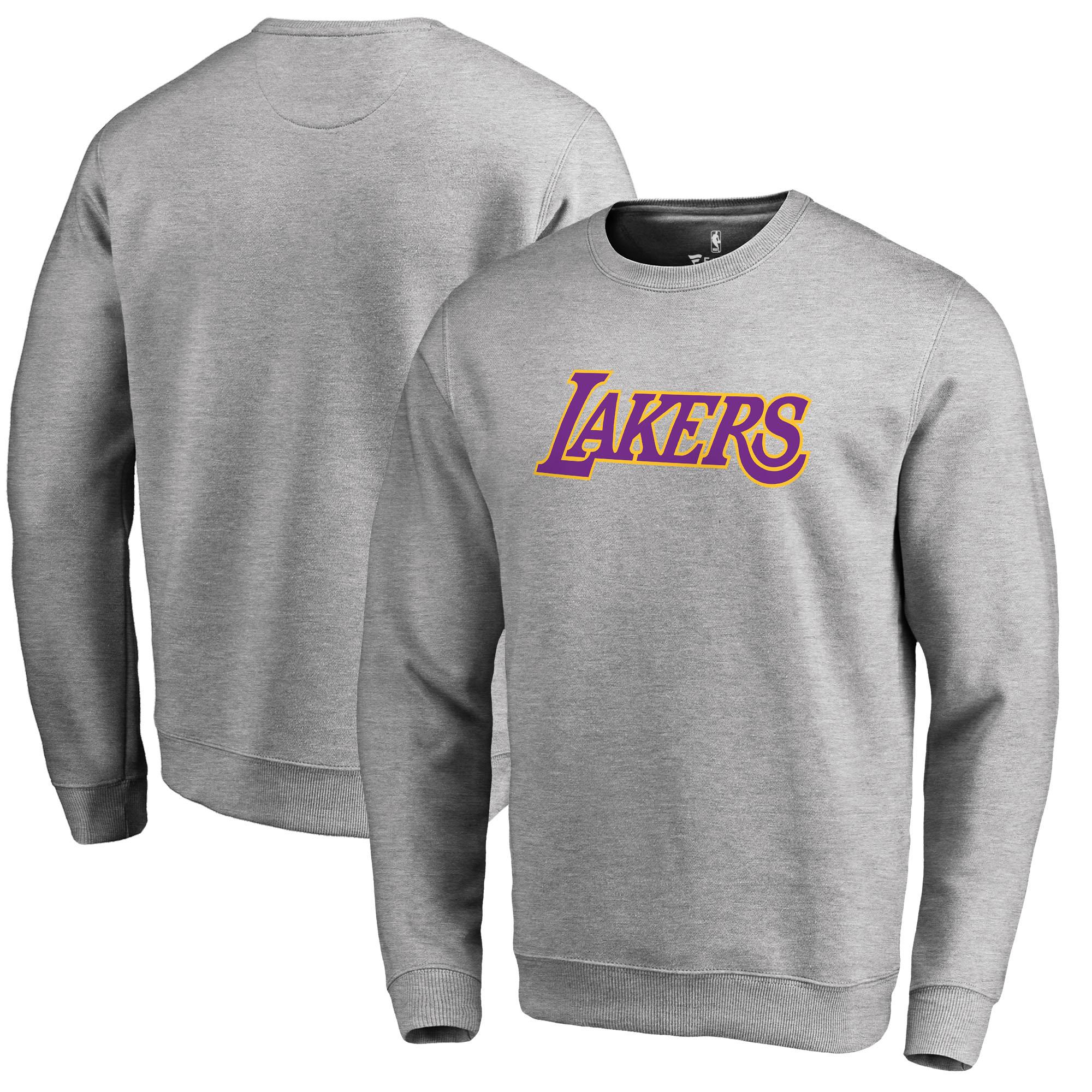 Los Angeles Lakers Fanatics Branded Wordmark Pullover Sweatshirt - Heathered Gray