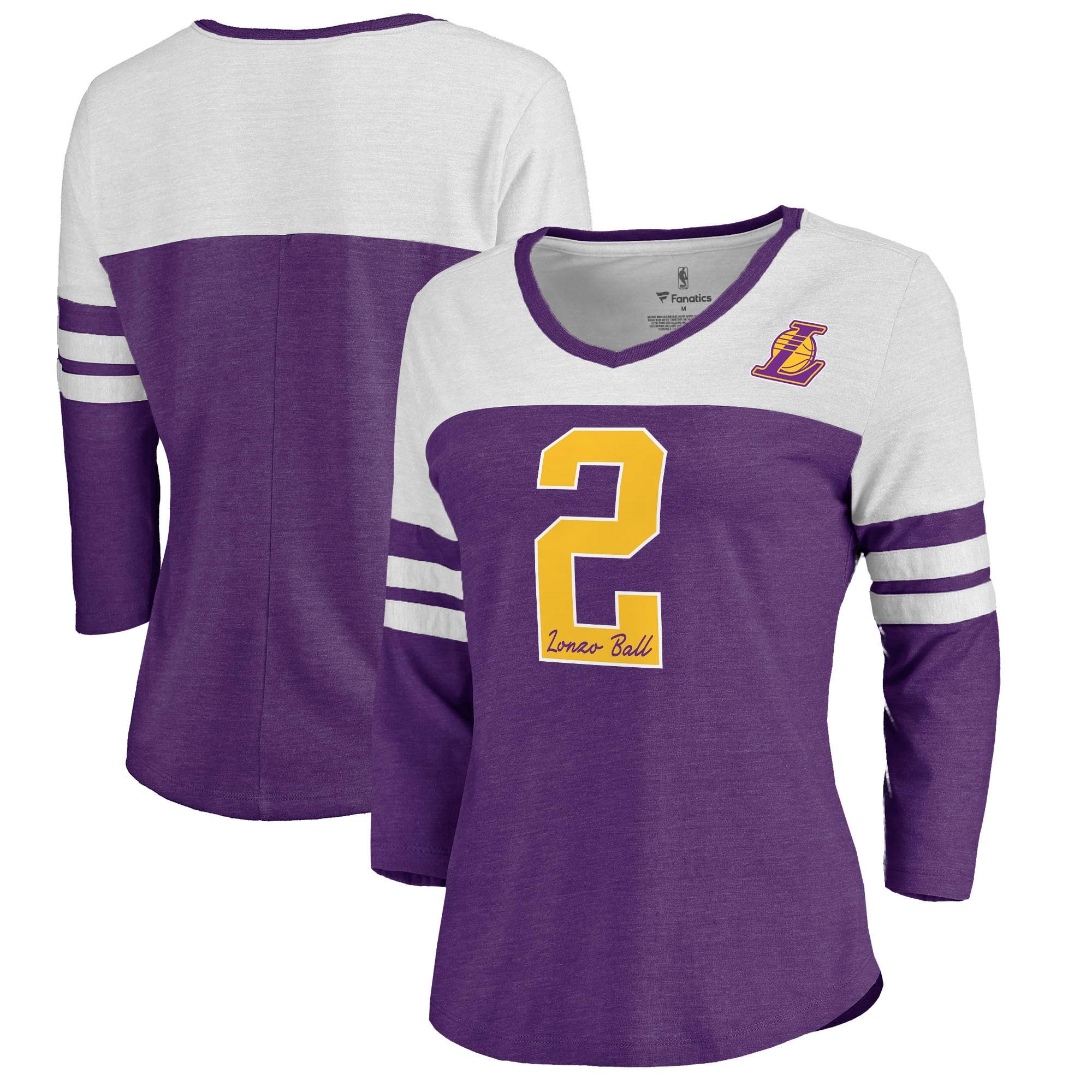 Lonzo Ball Los Angeles Lakers Fanatics Branded Women's Starstruck Name & Number Tri-Blend 3/4-Sleeve V-Neck T-Shirt - Purple