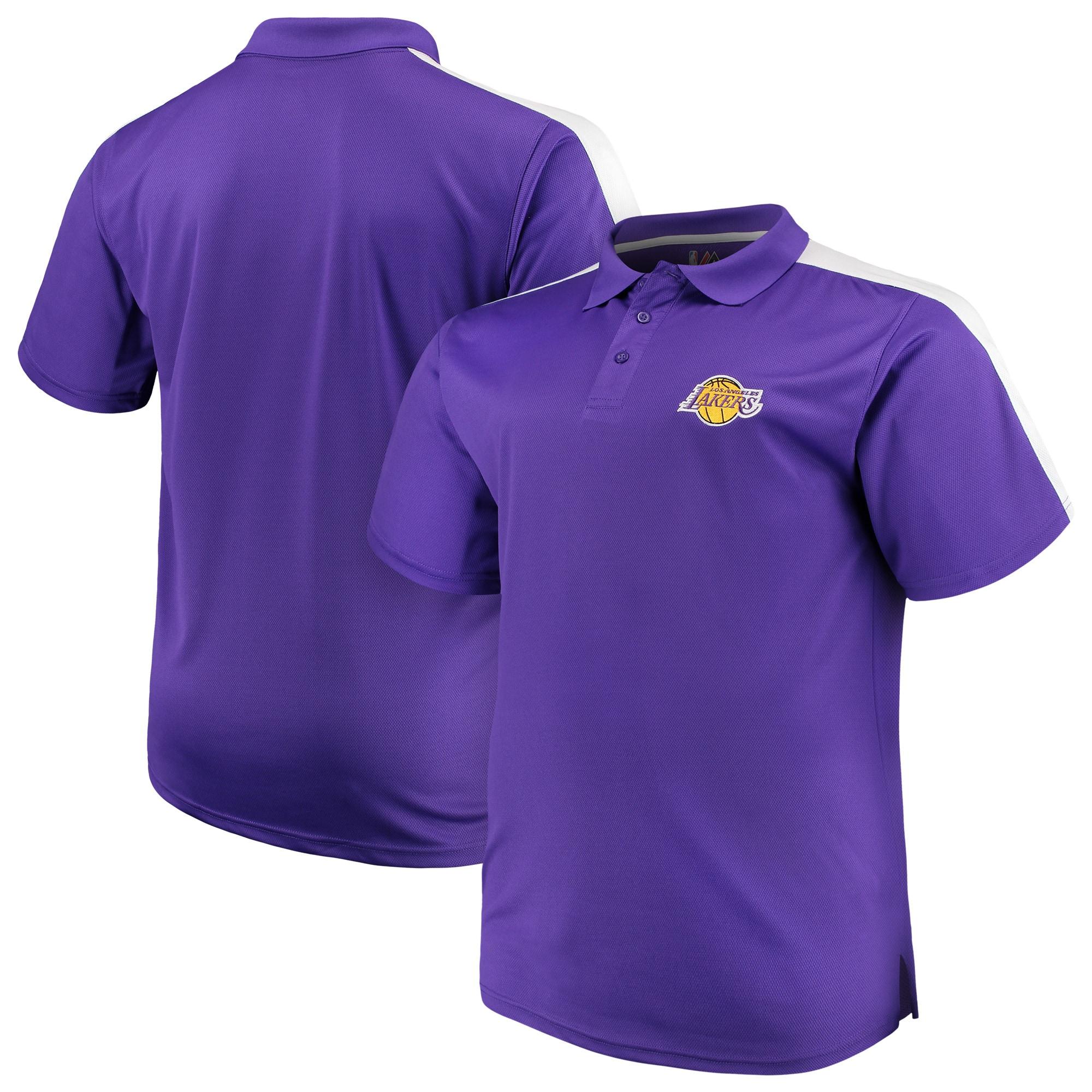 Los Angeles Lakers Majestic Big & Tall Birdseye Polo - Purple/White