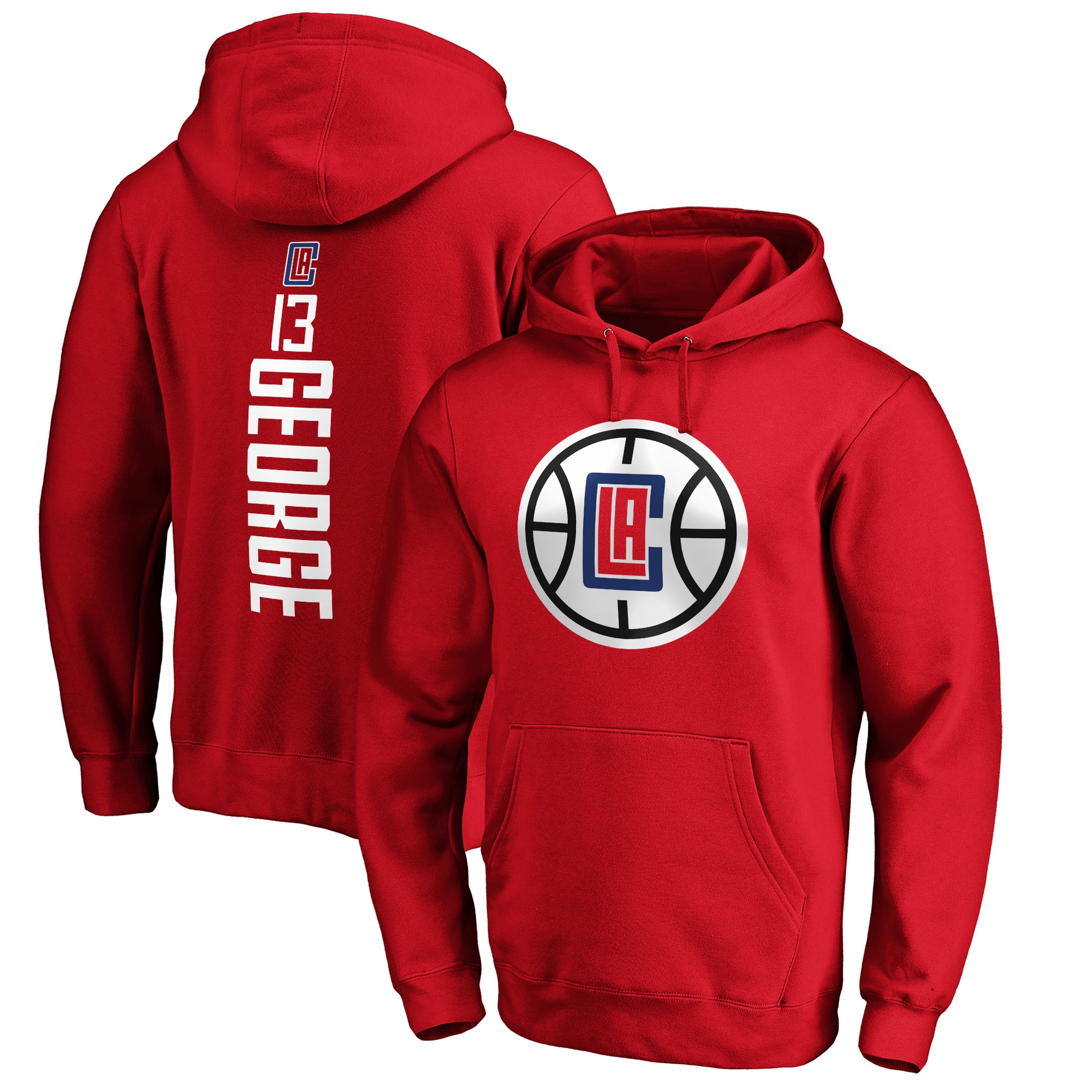 Paul George LA Clippers Fanatics Branded Big & Tall Playmaker Name & Number Pullover Hoodie - Red