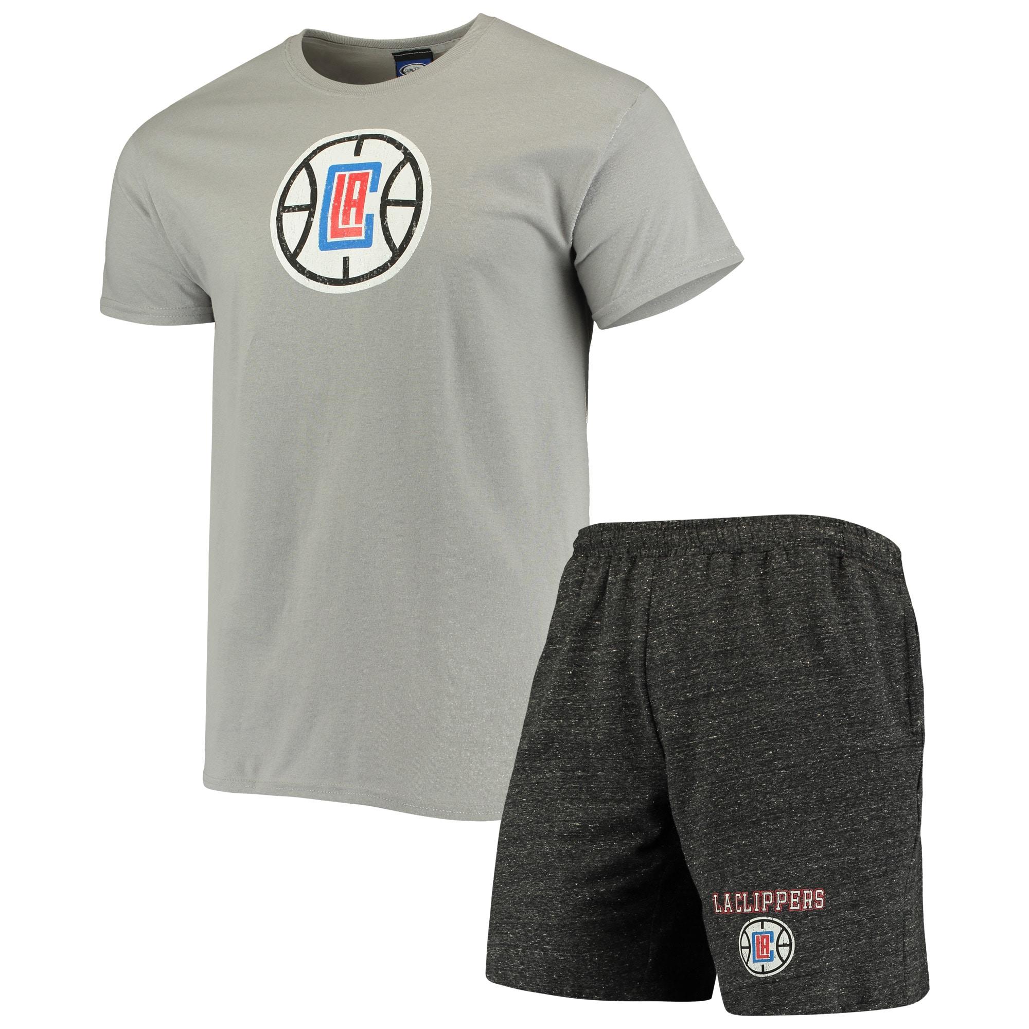 LA Clippers Concepts Sport Pitch T-Shirt & Shorts Set - Gray/Charcoal