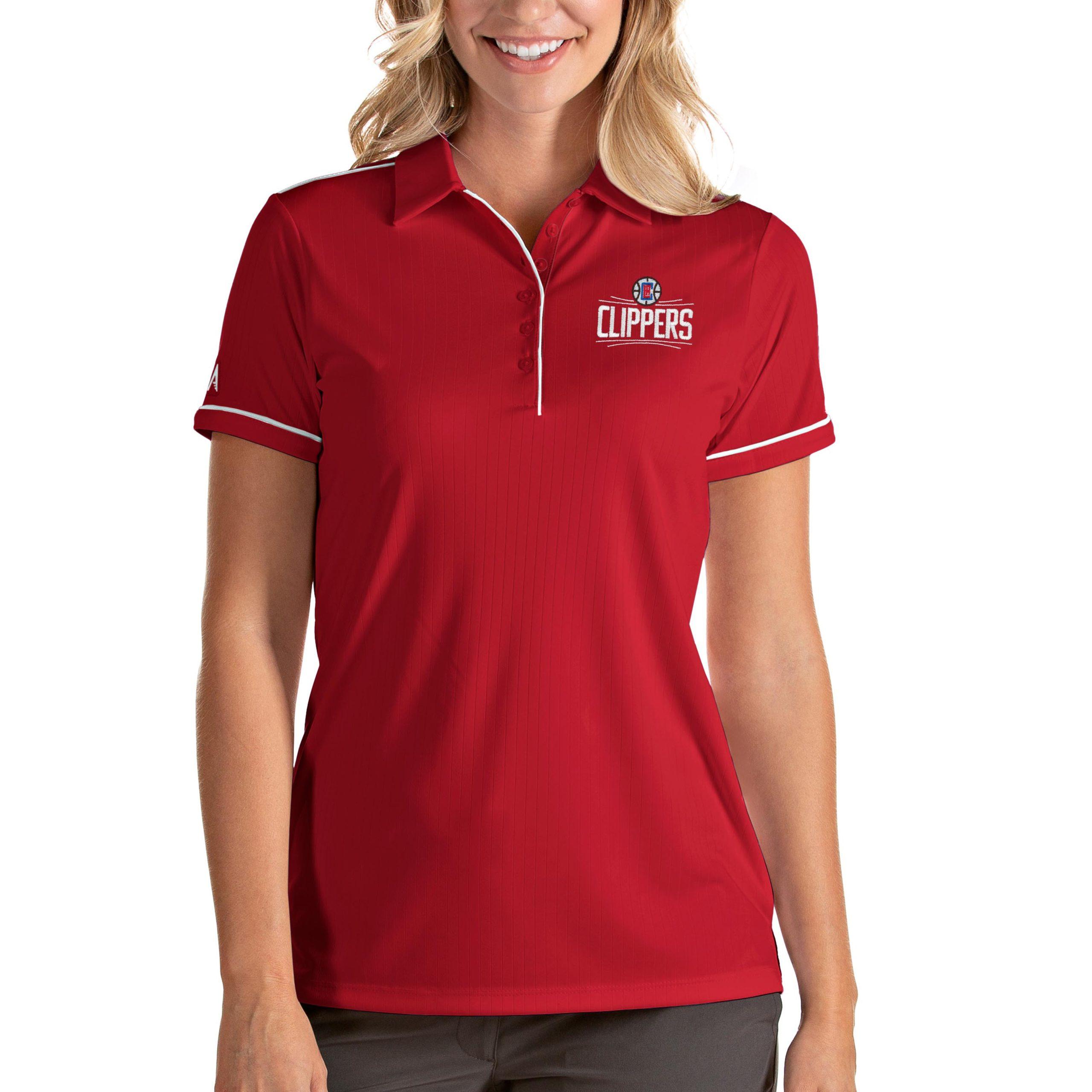 LA Clippers Antigua Women's Salute Polo - Red/White