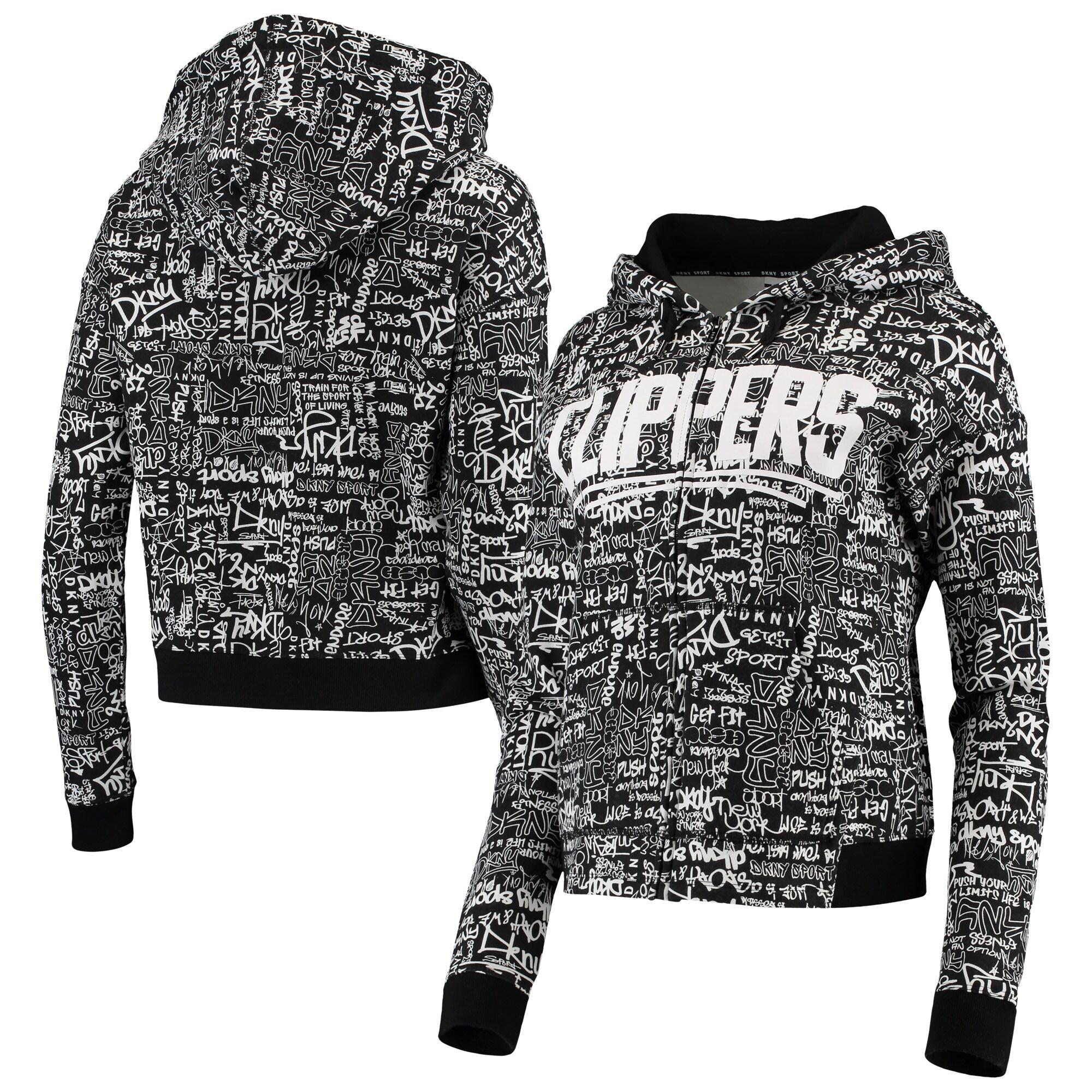 LA Clippers DKNY Sport Women's Urban Full-Zip Hoodie - Black