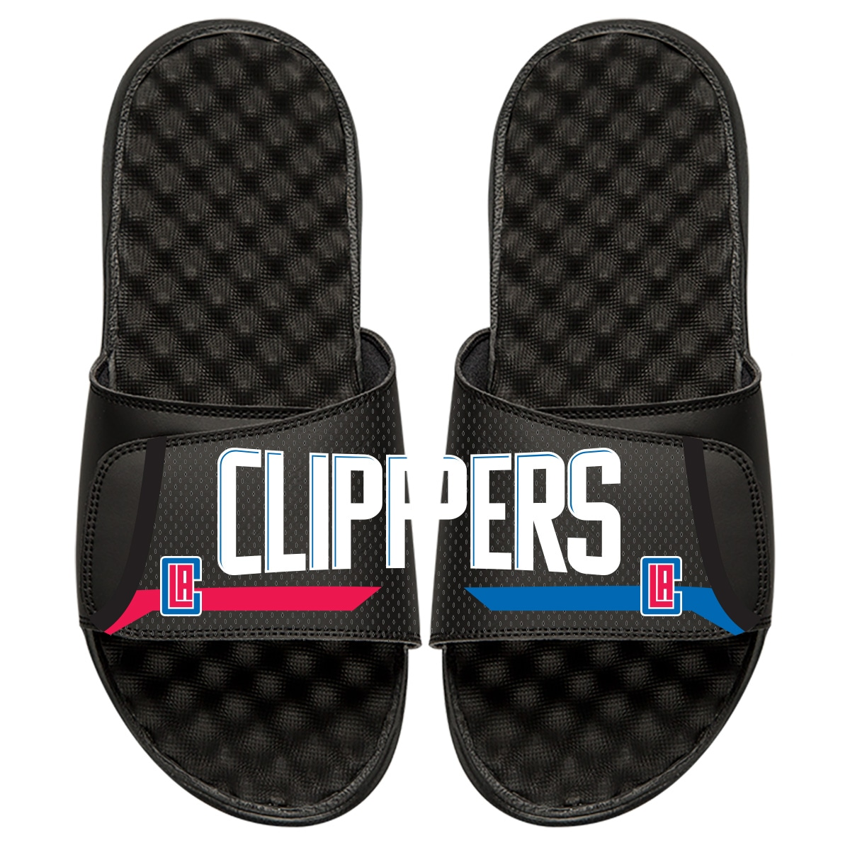 LA Clippers ISlide Youth Statement Jersey Split Slide Sandals - Black