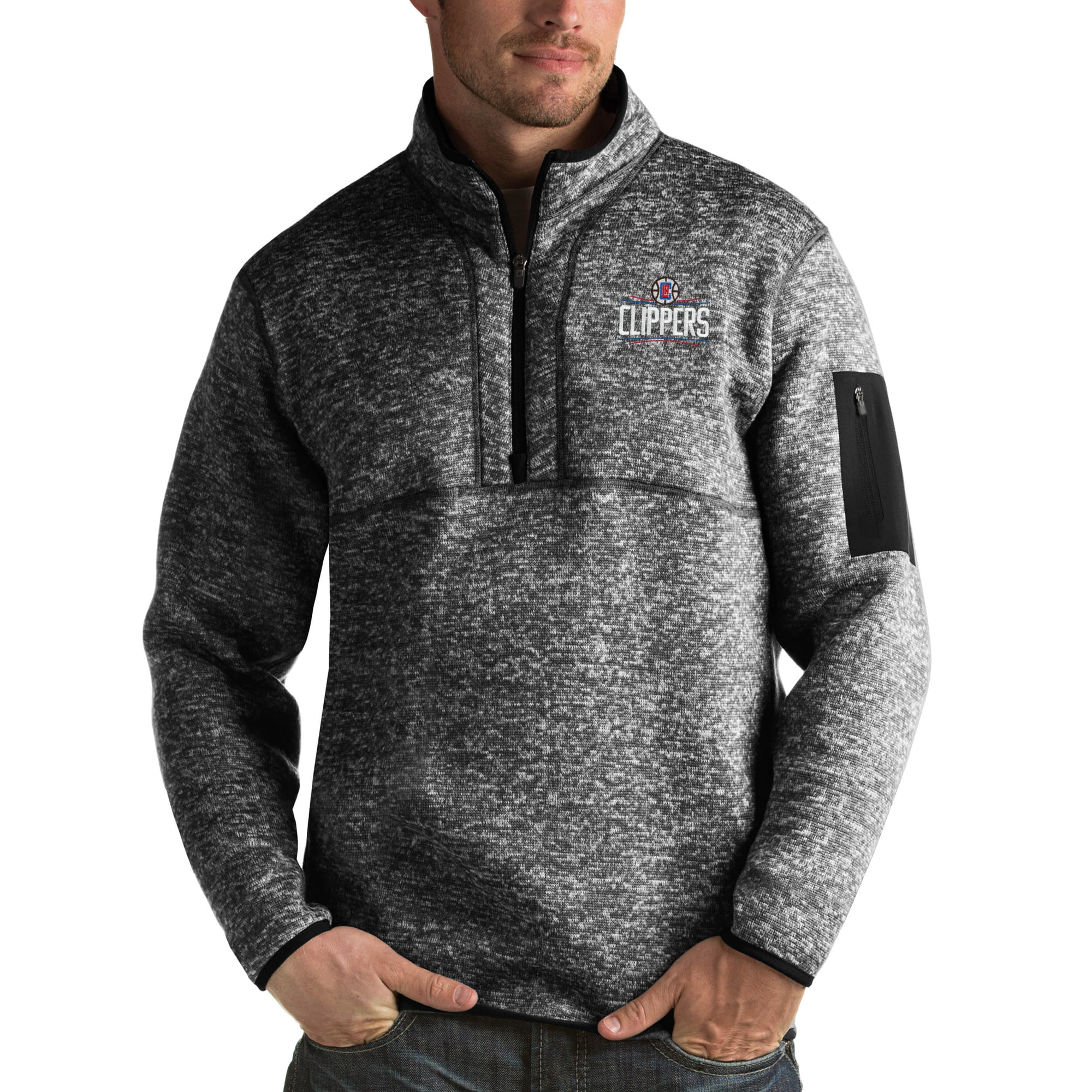 LA Clippers Antigua Fortune Big & Tall Quarter-Zip Pullover Jacket - Heather Black