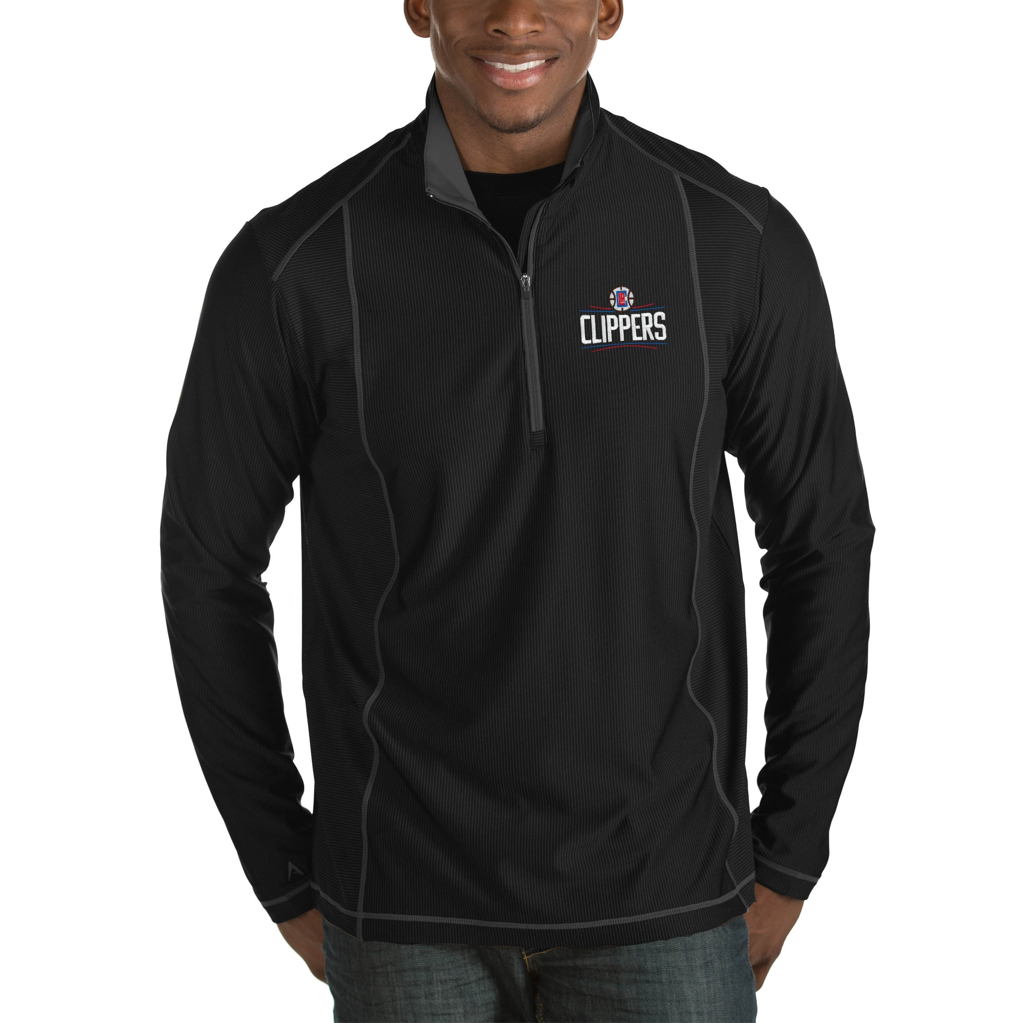 LA Clippers Antigua Tempo Big & Tall Half-Zip Pullover Jacket - Black
