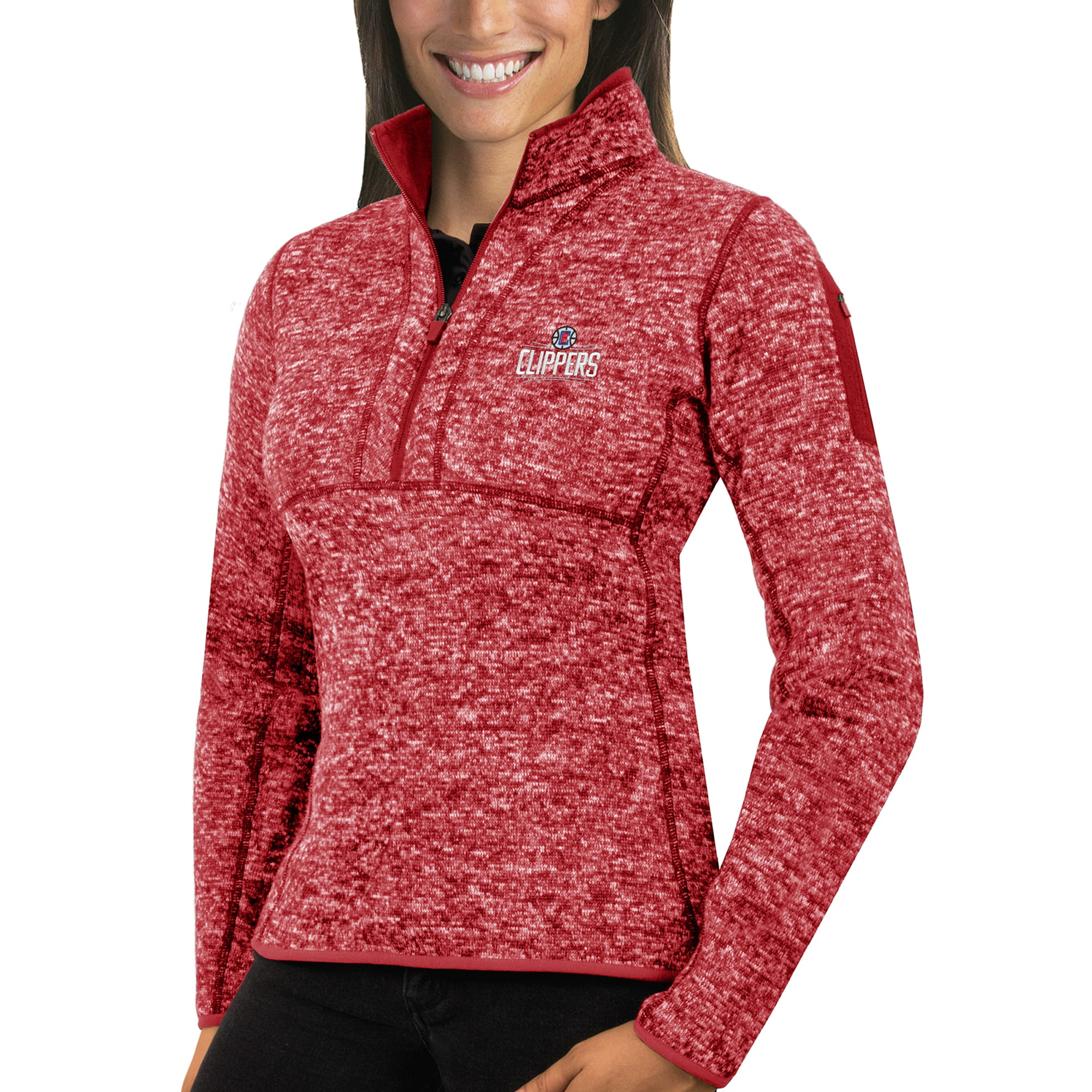 LA Clippers Antigua Women's Fortune Half-Zip Pullover Jacket - Heather Red
