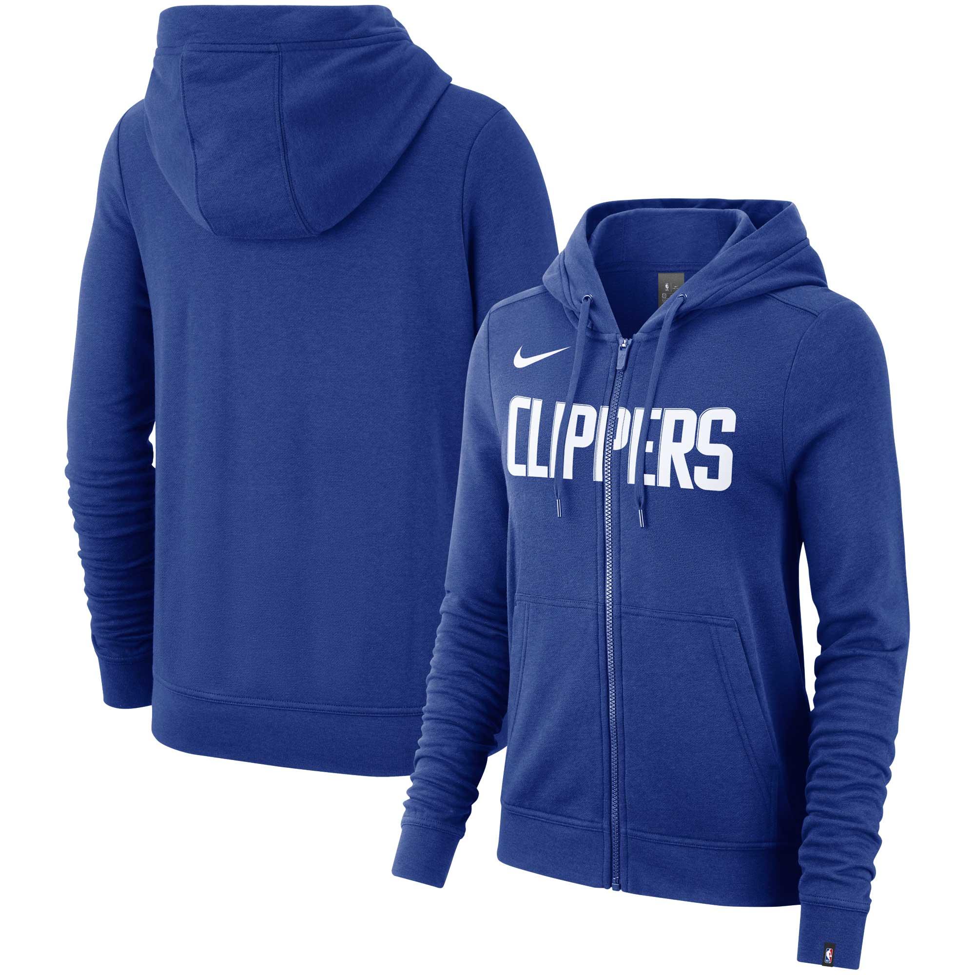 LA Clippers Nike Women's Essential Wordmark Full-Zip Hoodie - Royal