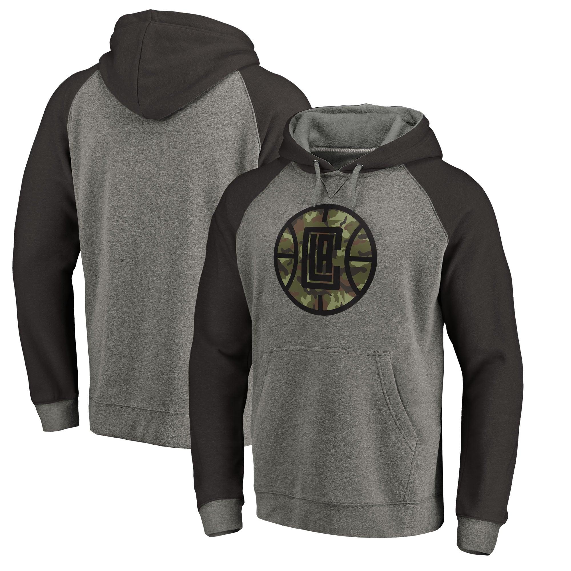 LA Clippers Fanatics Branded Prestige Camo Tri-Blend Pullover Hoodie - Heathered Gray