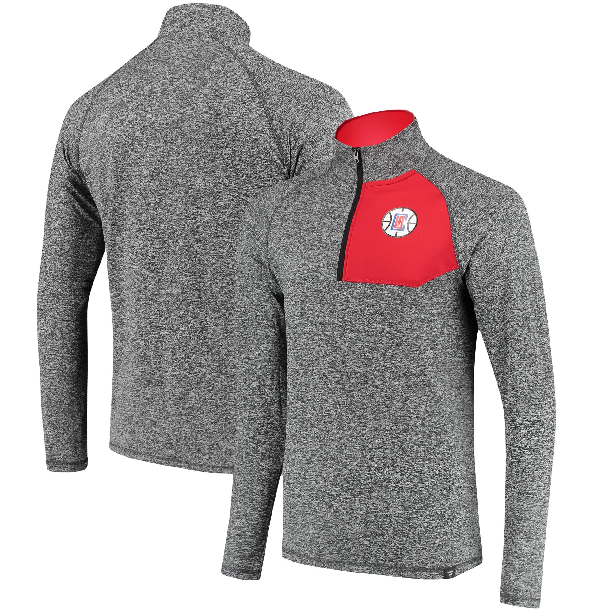 LA Clippers Fanatics Branded Static Quarter-Zip Pullover Jacket - Heathered Charcoal