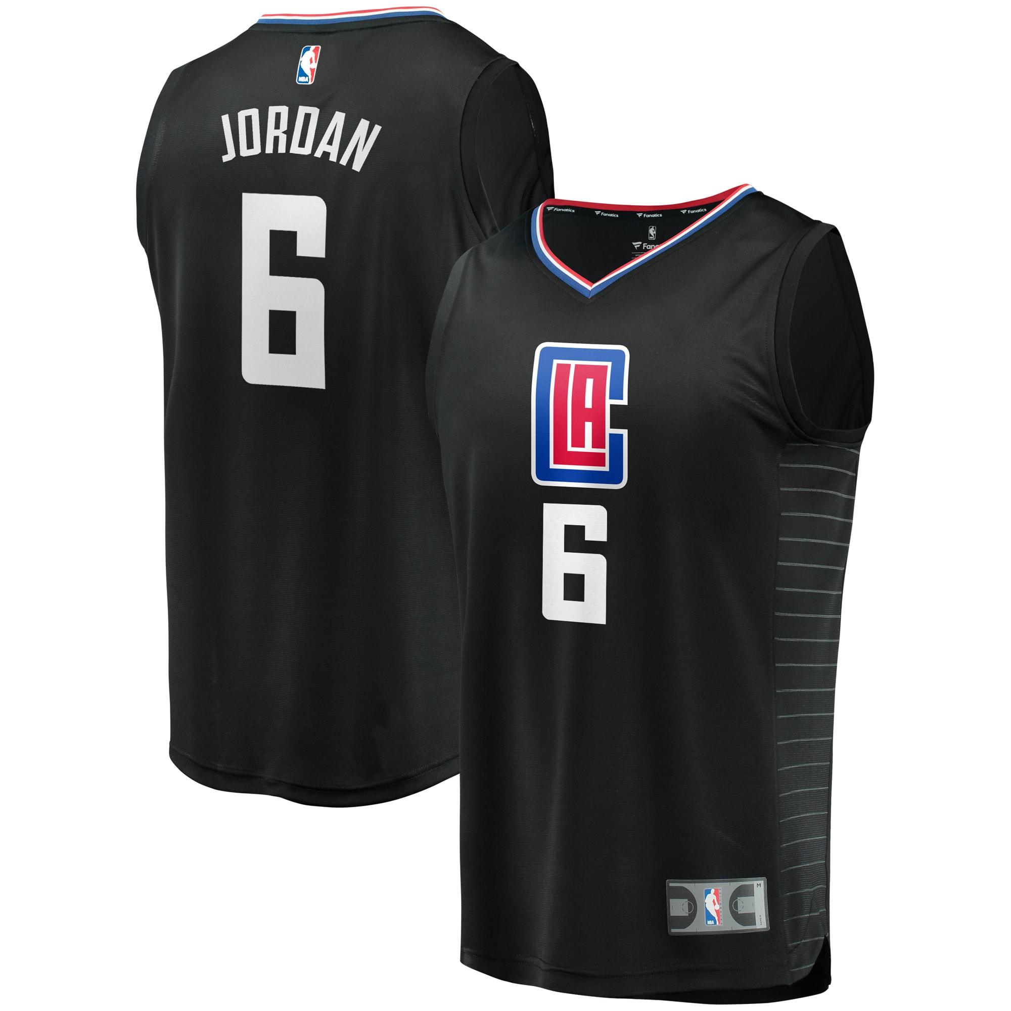 DeAndre Jordan LA Clippers Fanatics Branded Youth Fast Break Replica Jersey Black - Statement Edition