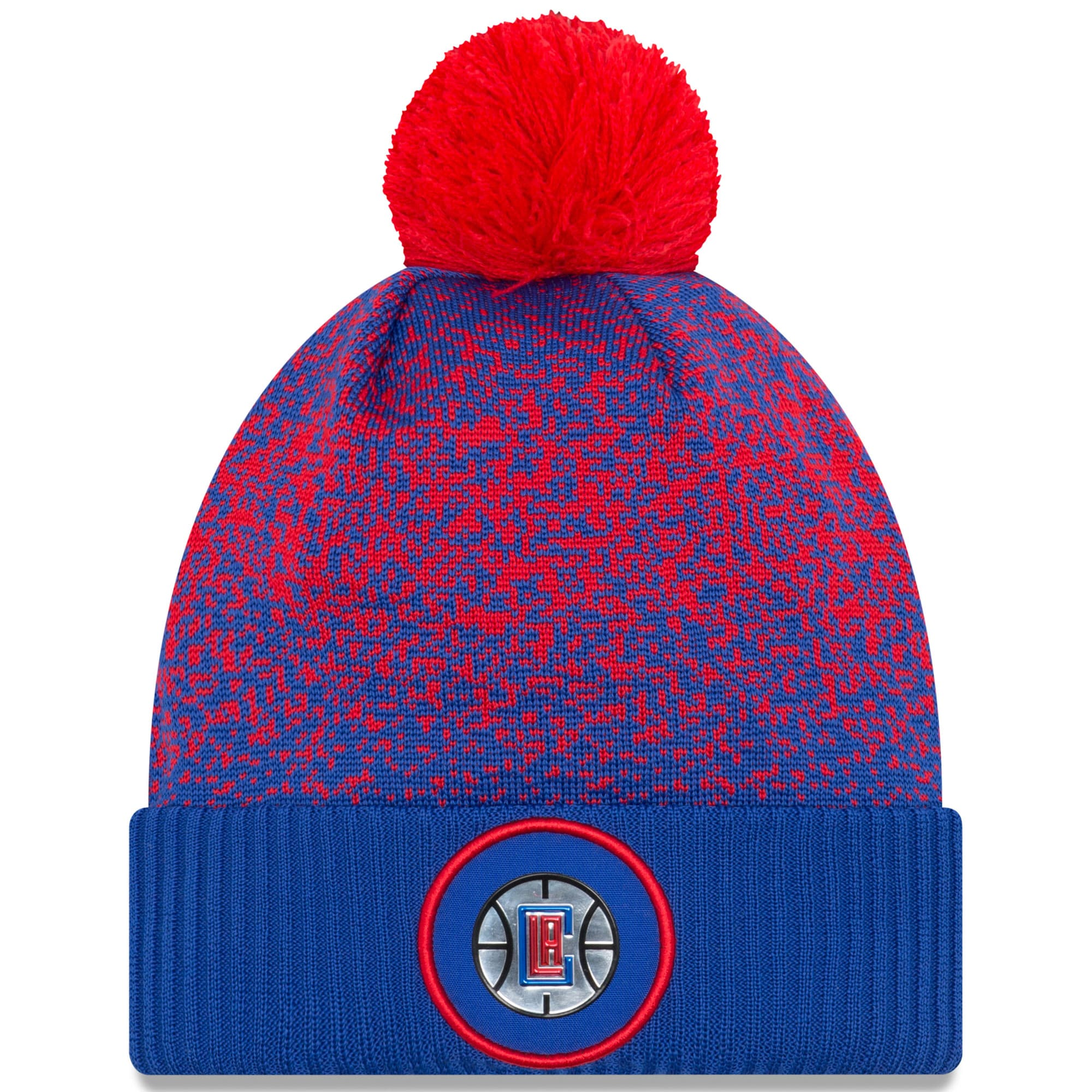 LA Clippers New Era On-Court Cuffed Knit Hat with Pom - Royal
