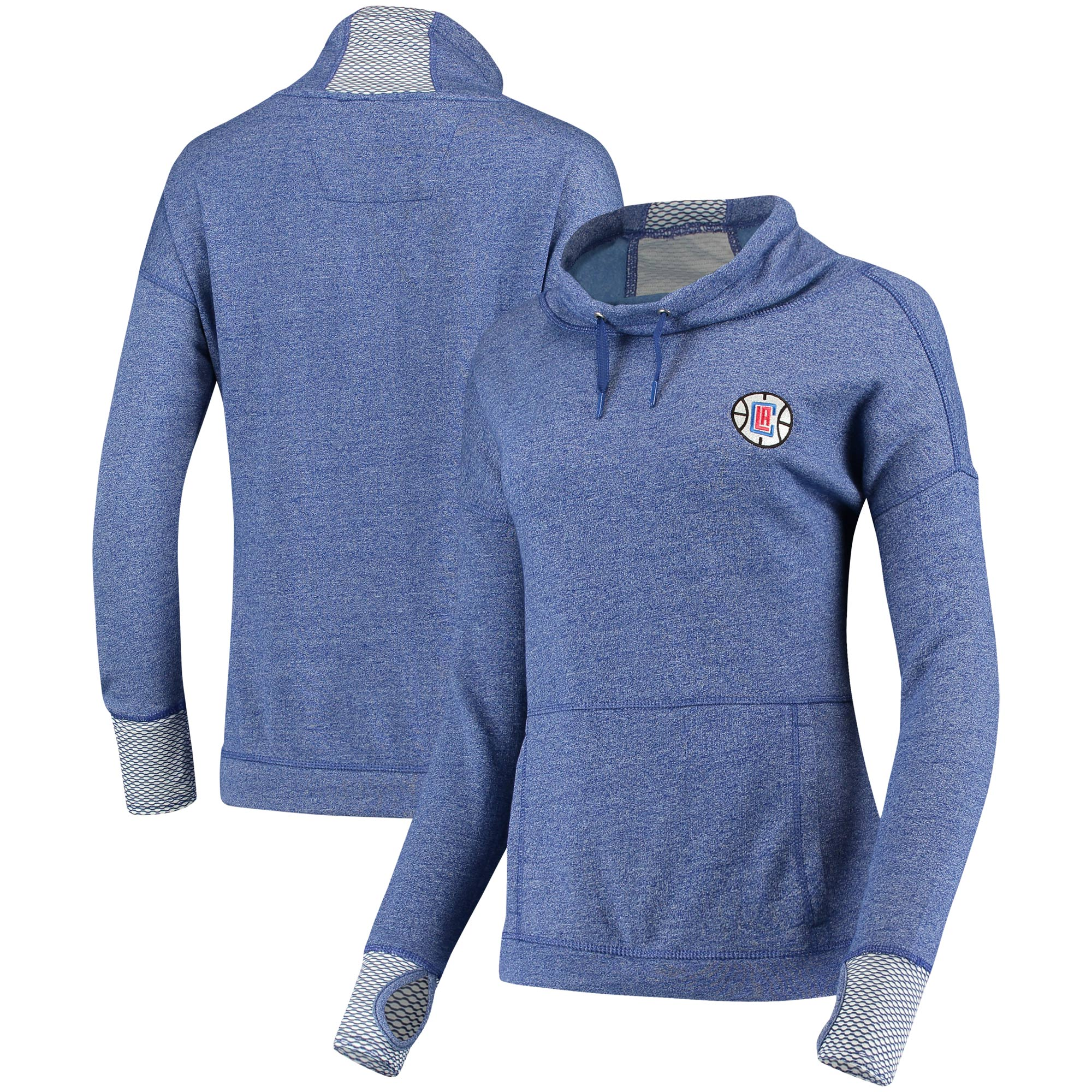 LA Clippers Antigua Women's Snap Cowl Neck Pullover Sweatshirt - Heathered Royal