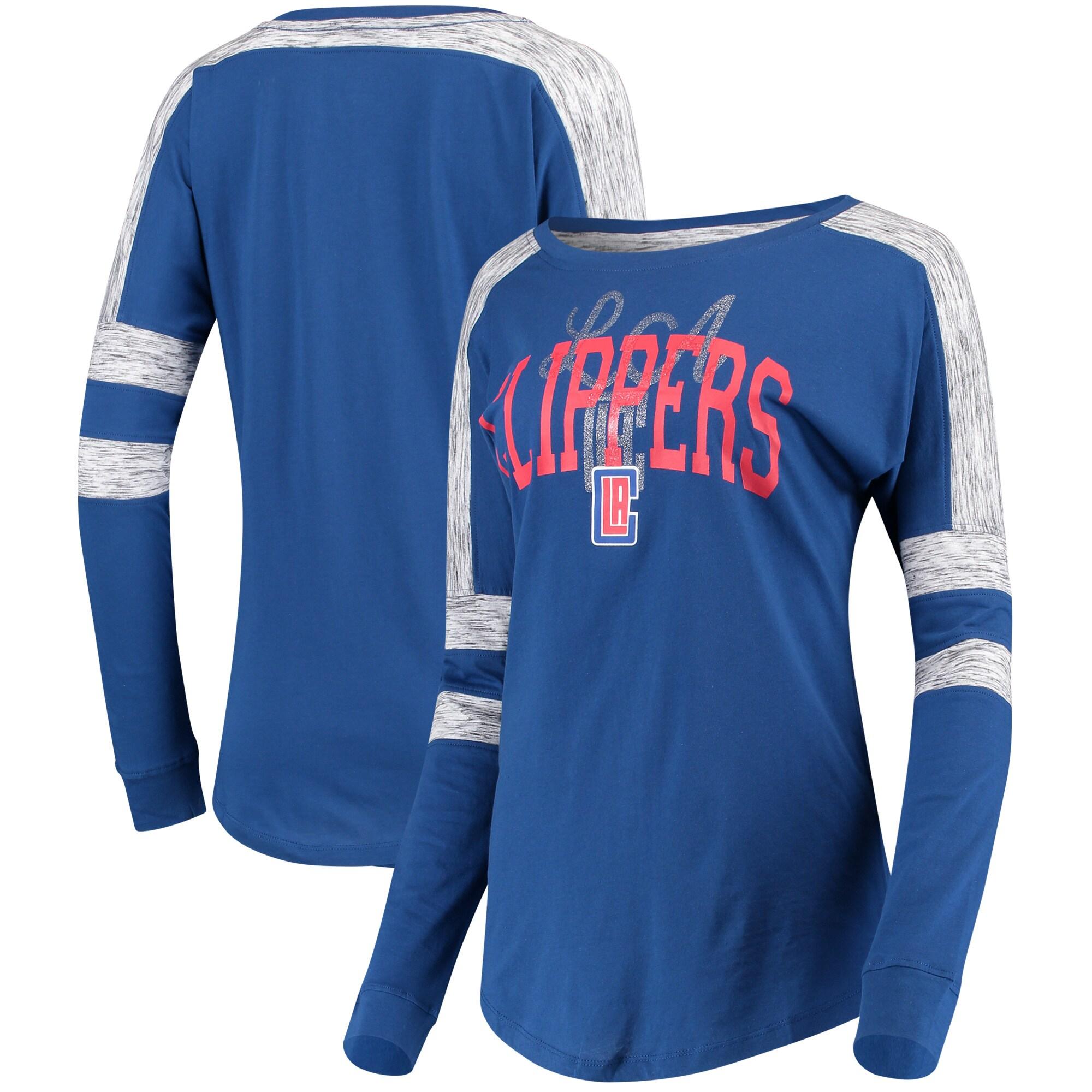 LA Clippers 5th & Ocean by New Era Women's Space Dye Baby Jersey Long Sleeve T-Shirt - Royal