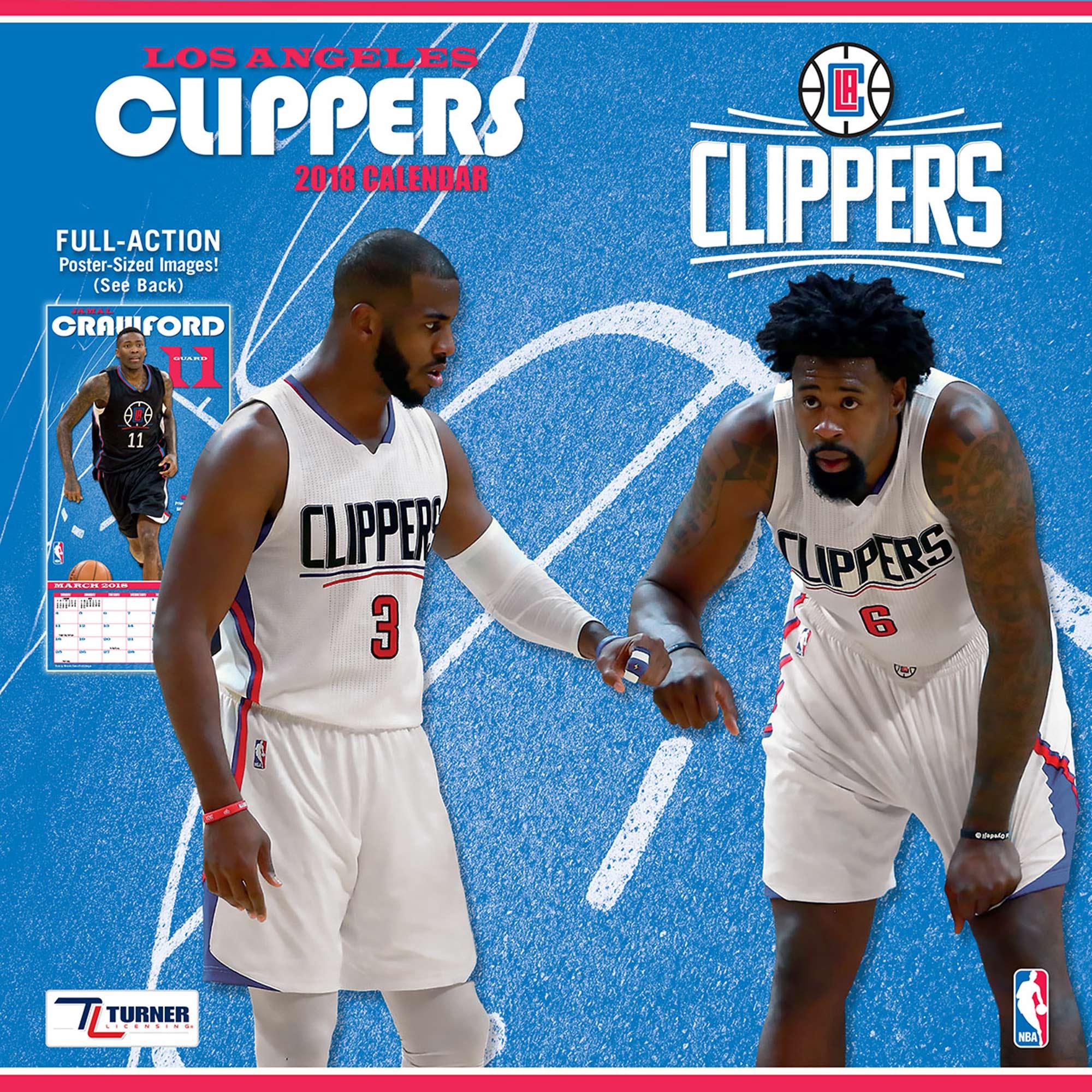 """LA Clippers 2018 12"""" x 12"""" Team Wall Calendar"""