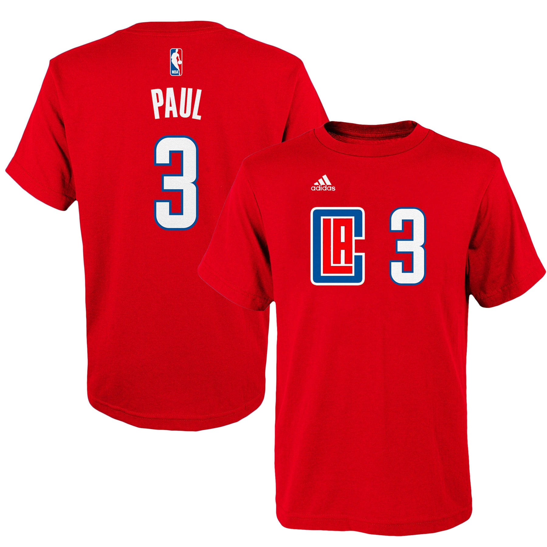 Chris Paul LA Clippers adidas Youth Game Time Flat Name & Number T-Shirt - Red