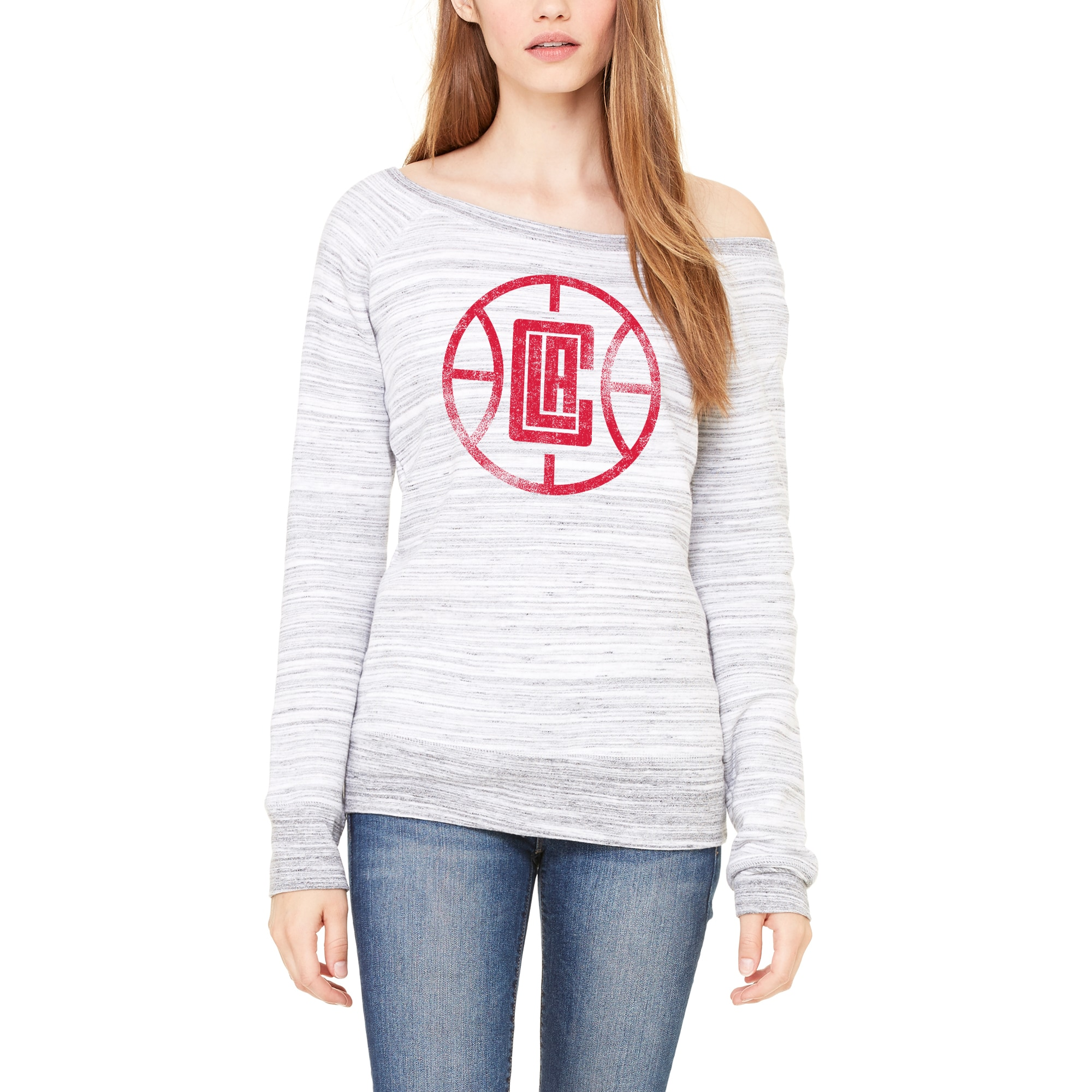 LA Clippers Let Loose by RNL Women's Game Day Wide Neck Sweatshirt - Ash