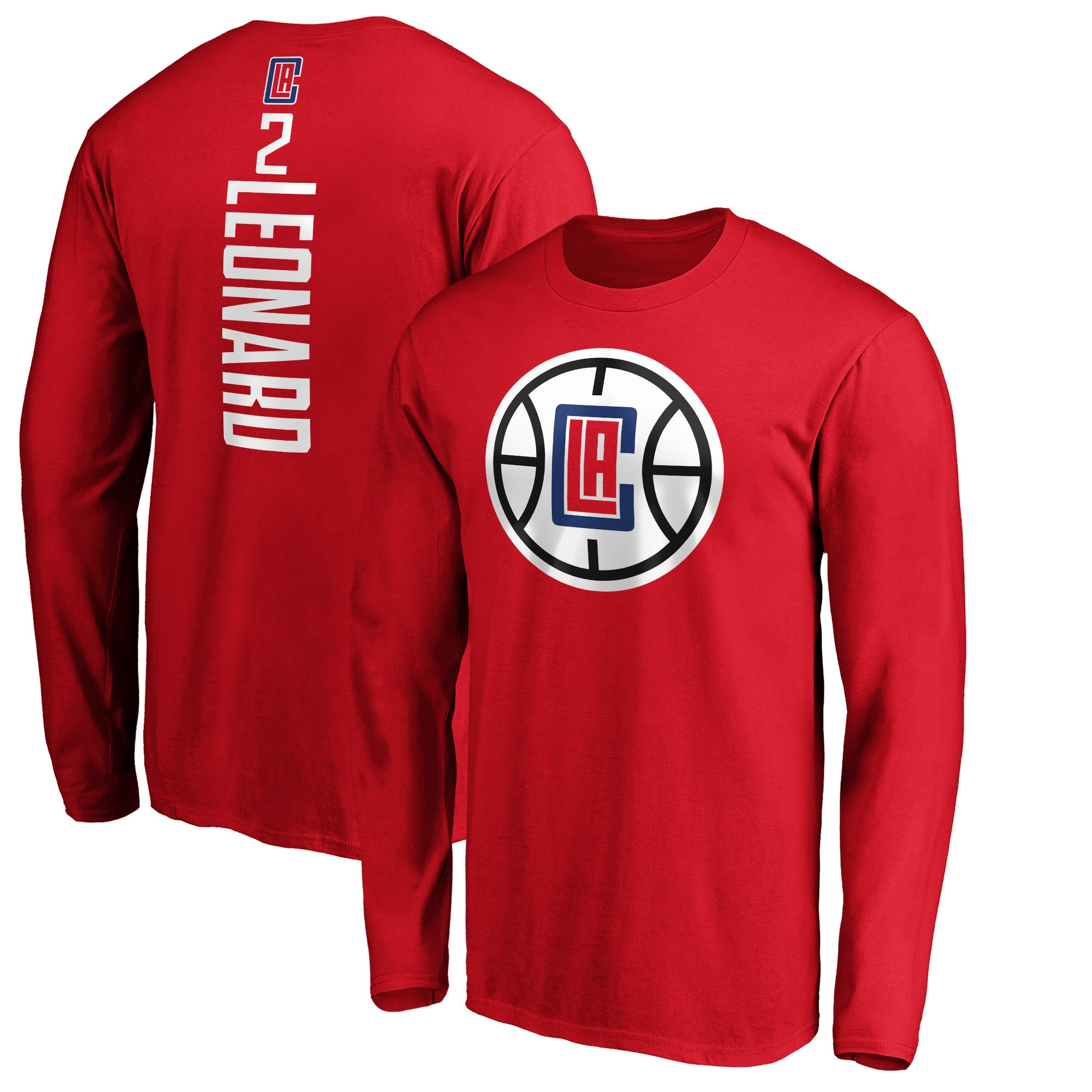 Kawhi Leonard LA Clippers Fanatics Branded Team Playmaker Name & Number Long Sleeve T-Shirt - Red