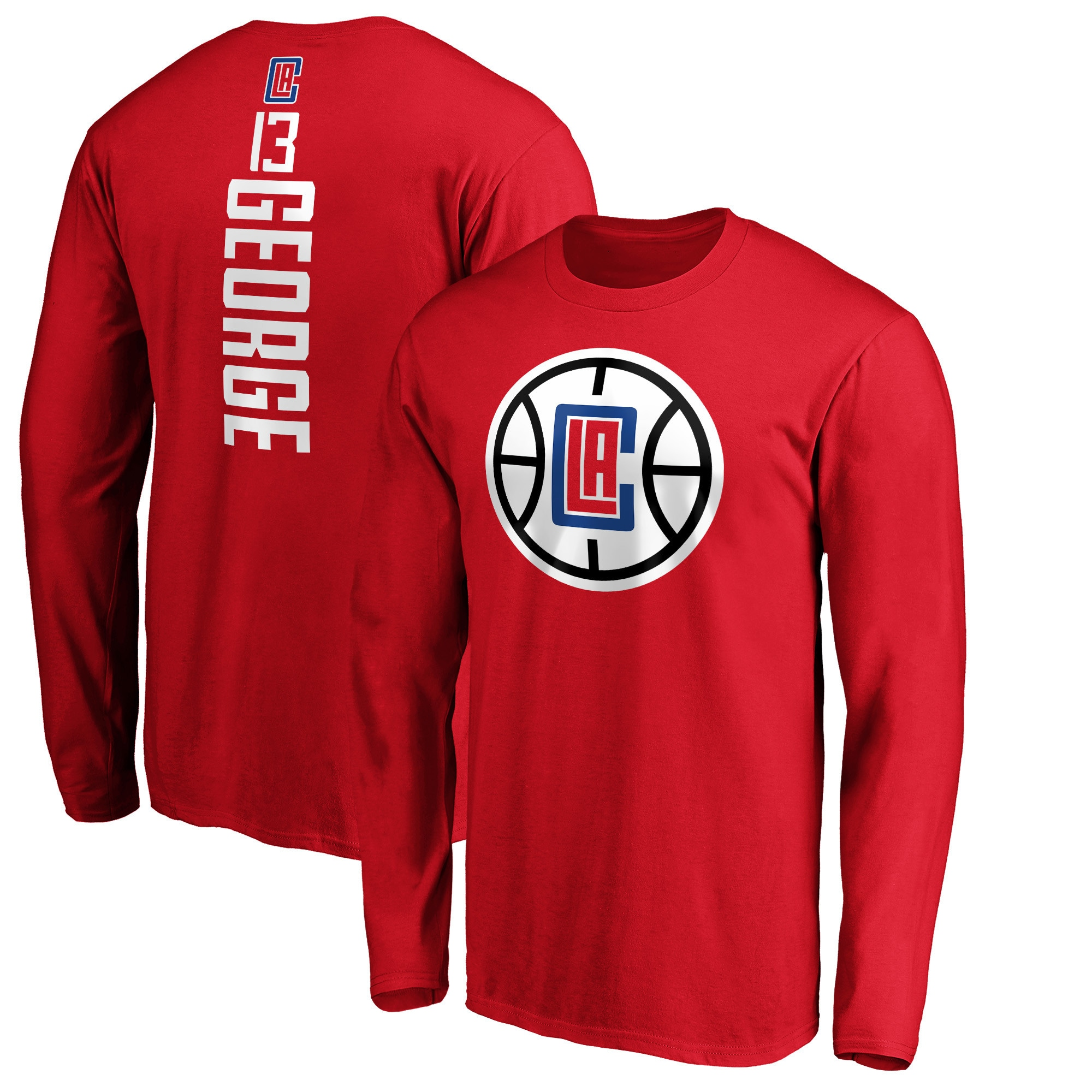 Paul George LA Clippers Fanatics Branded Team Playmaker Name & Number Long Sleeve T-Shirt - Red