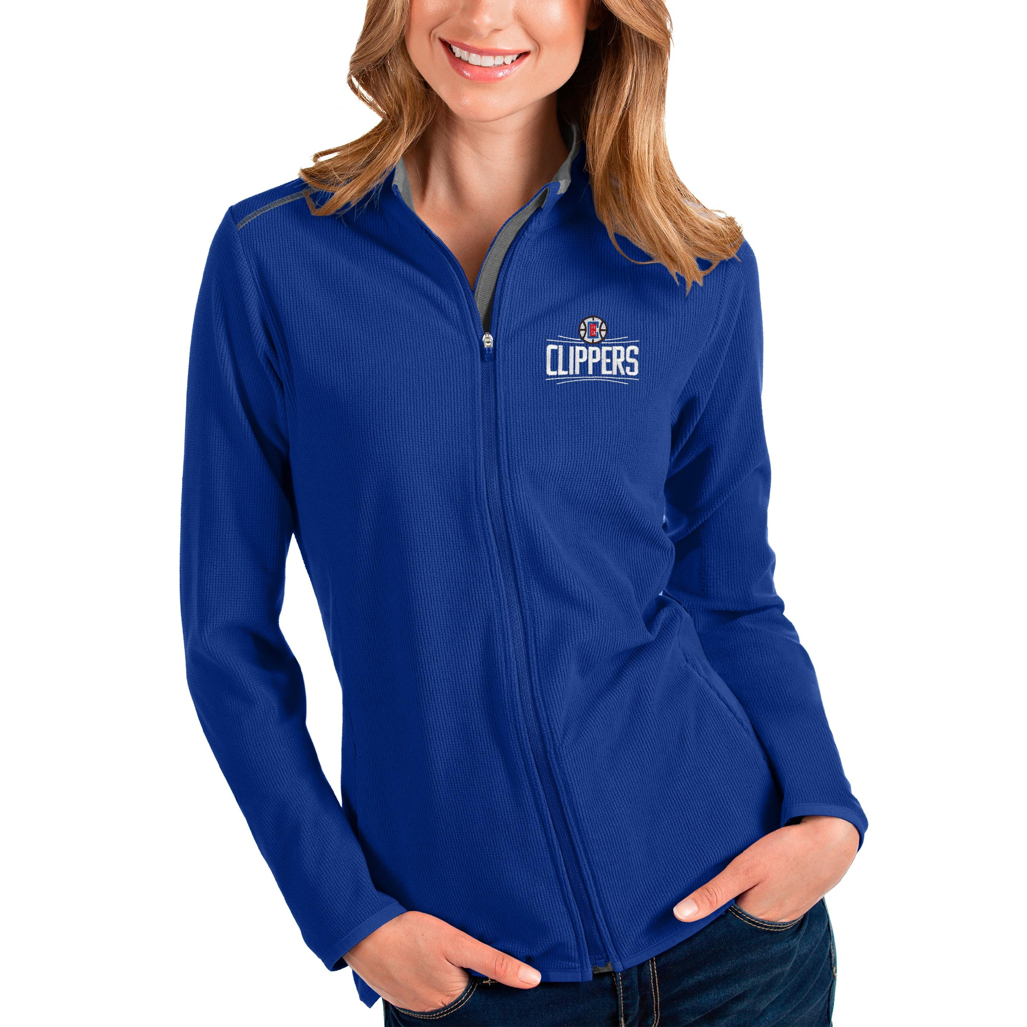 LA Clippers Antigua Women's Glacier Full-Zip Jacket - Royal/Gray
