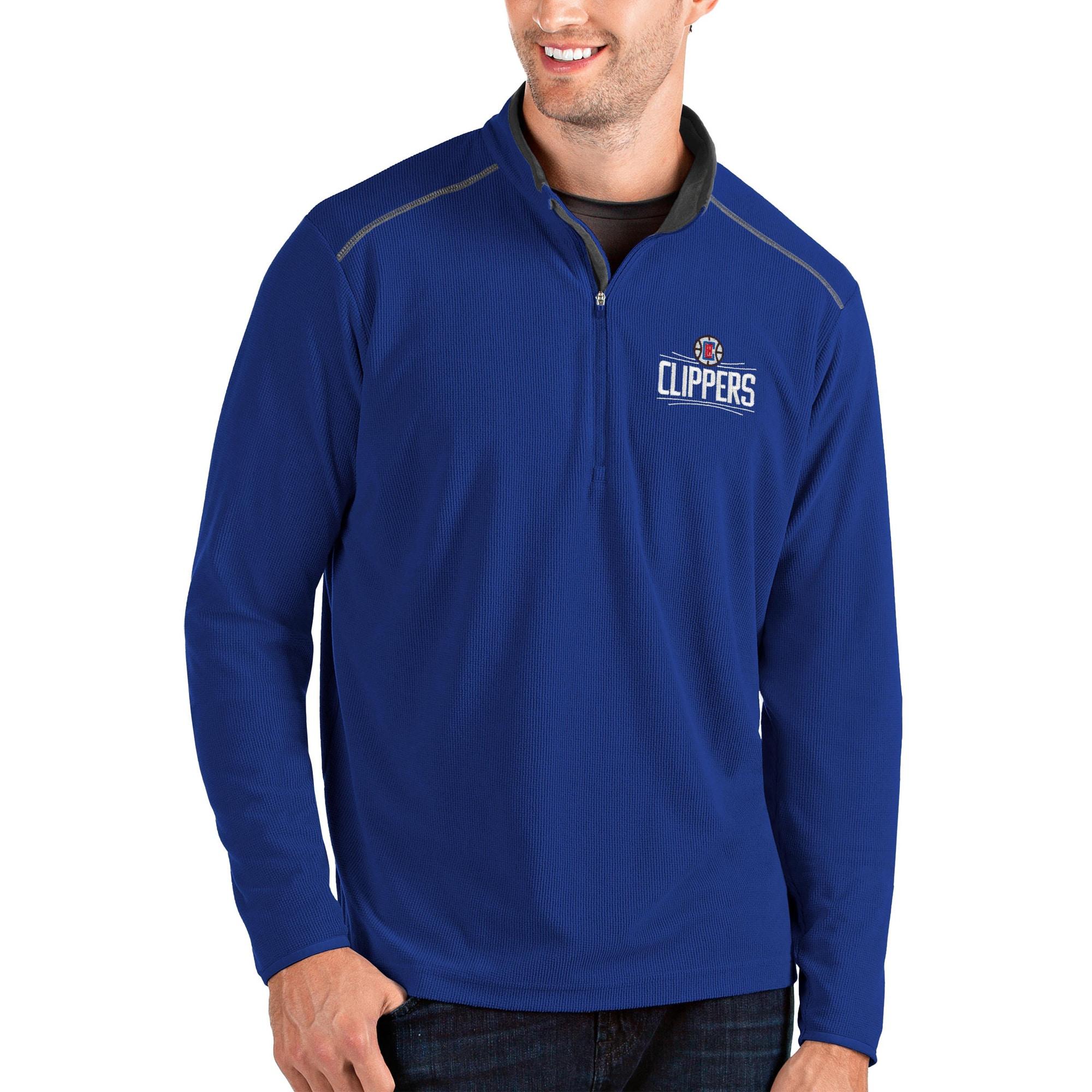 LA Clippers Antigua Glacier Quarter-Zip Pullover Jacket - Royal/Gray