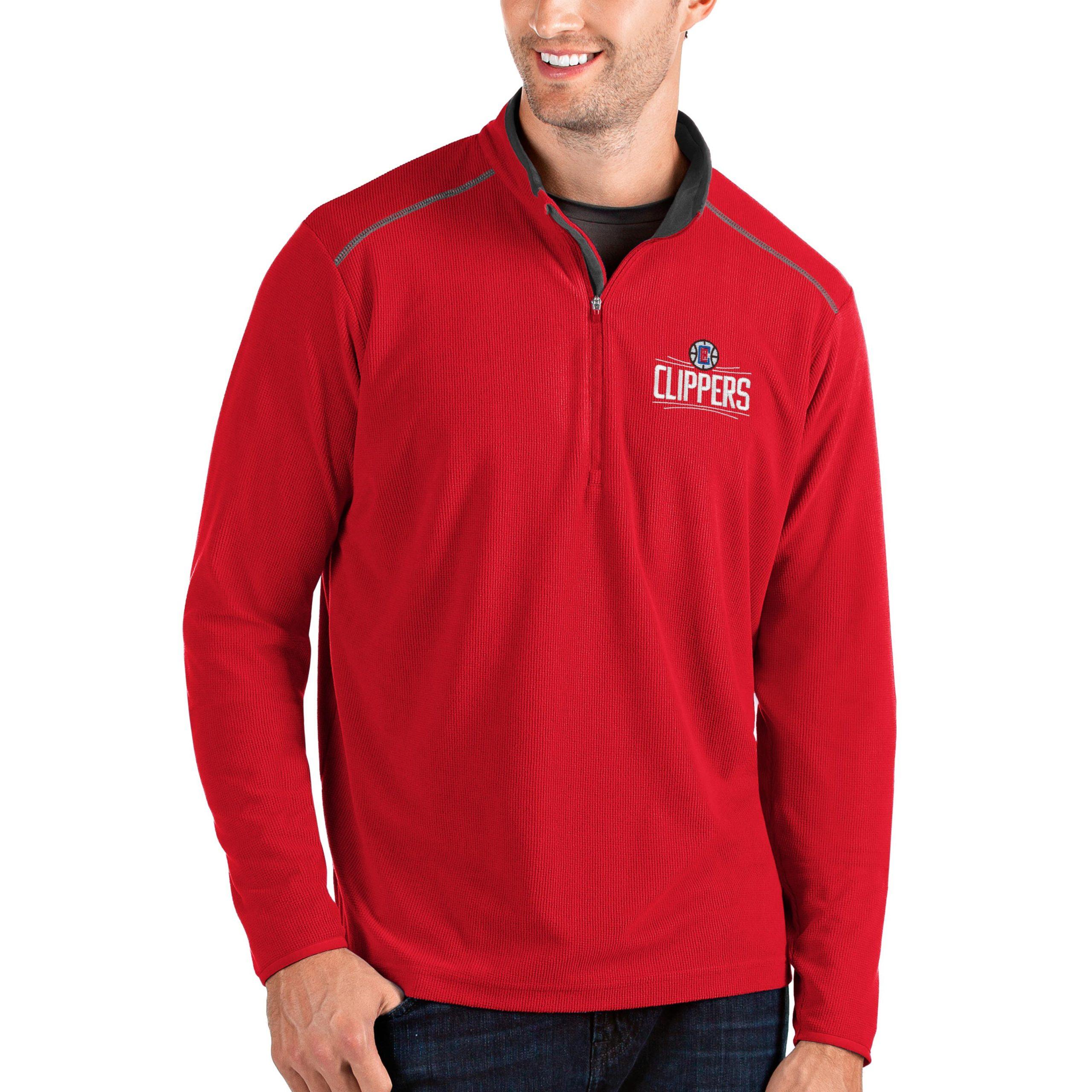 LA Clippers Antigua Big & Tall Glacier Quarter-Zip Pullover Jacket - Red/Gray
