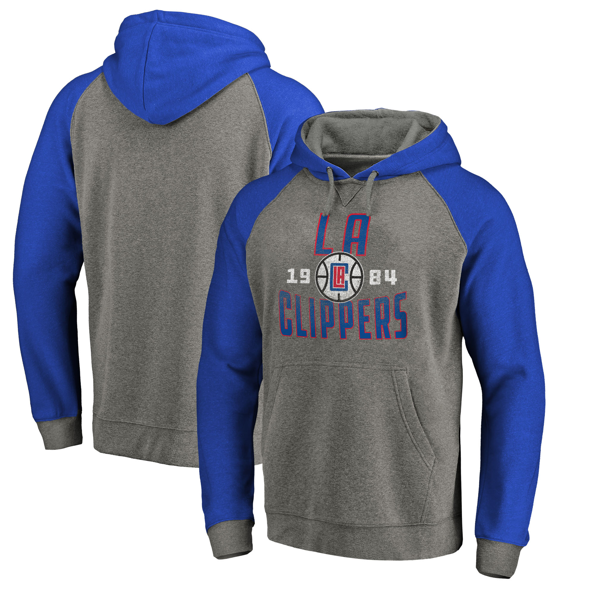 LA Clippers Fanatics Branded Ash Antique Stack Tri-Blend Raglan Pullover Hoodie