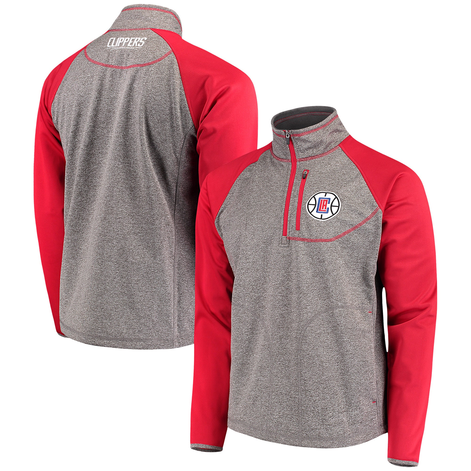 LA Clippers G-III Sports by Carl Banks Mountain Trail Half-Zip Pullover Jacket - Gray/Red