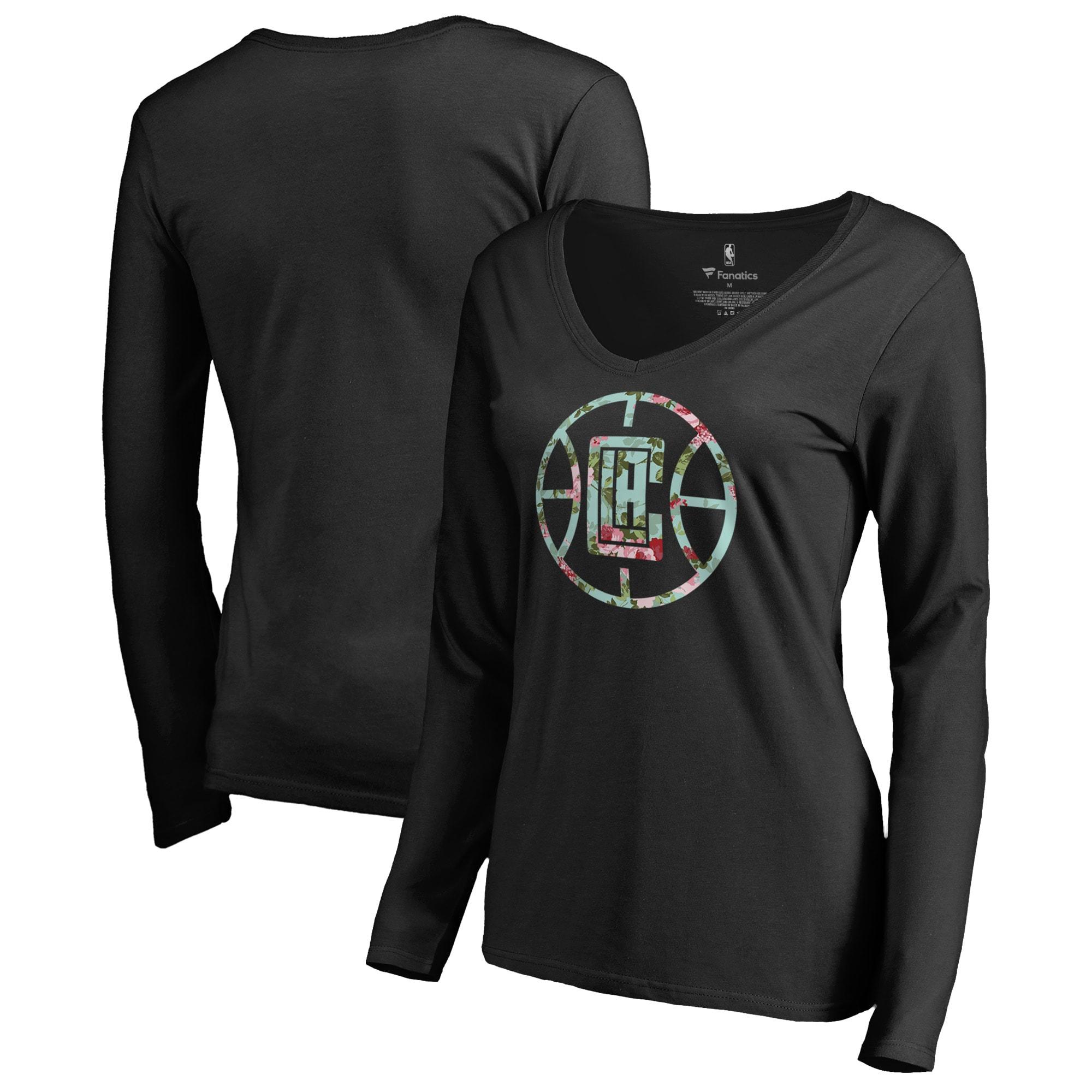 LA Clippers Fanatics Branded Women's Lovely V-Neck Long Sleeve T-Shirt - Black