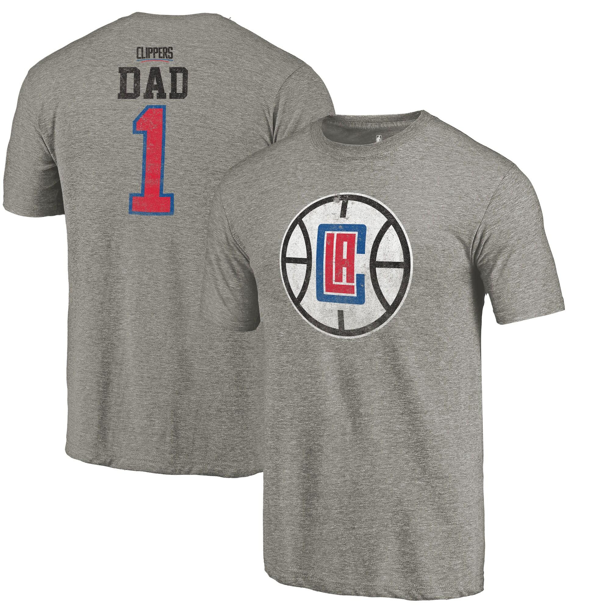 LA Clippers Fanatics Branded Greatest Dad Tri-Blend T-Shirt - Gray