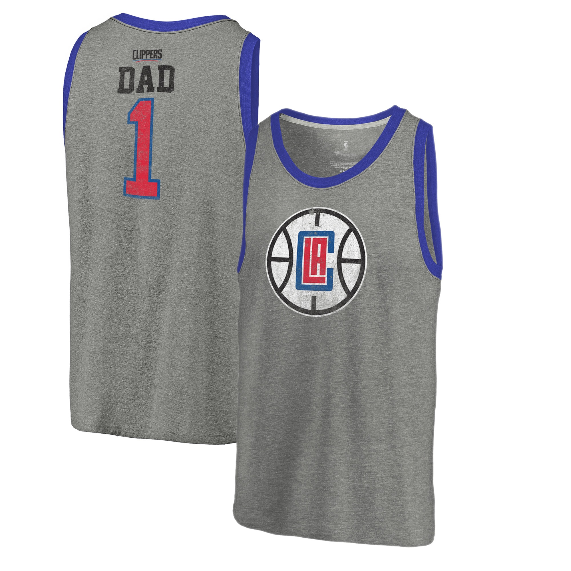 LA Clippers Fanatics Branded Greatest Dad Tri-Blend Tank Top - Heathered Gray