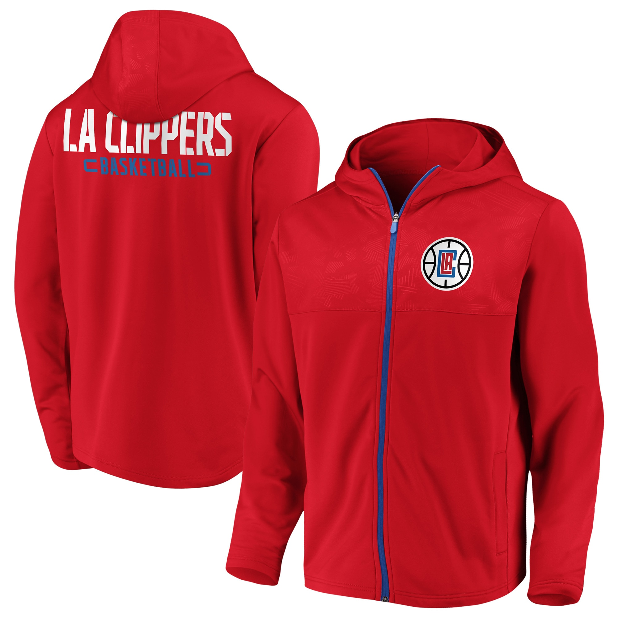 LA Clippers Fanatics Branded Iconic Defender Mission Performance Primary Logo Full-Zip Hoodie - Red