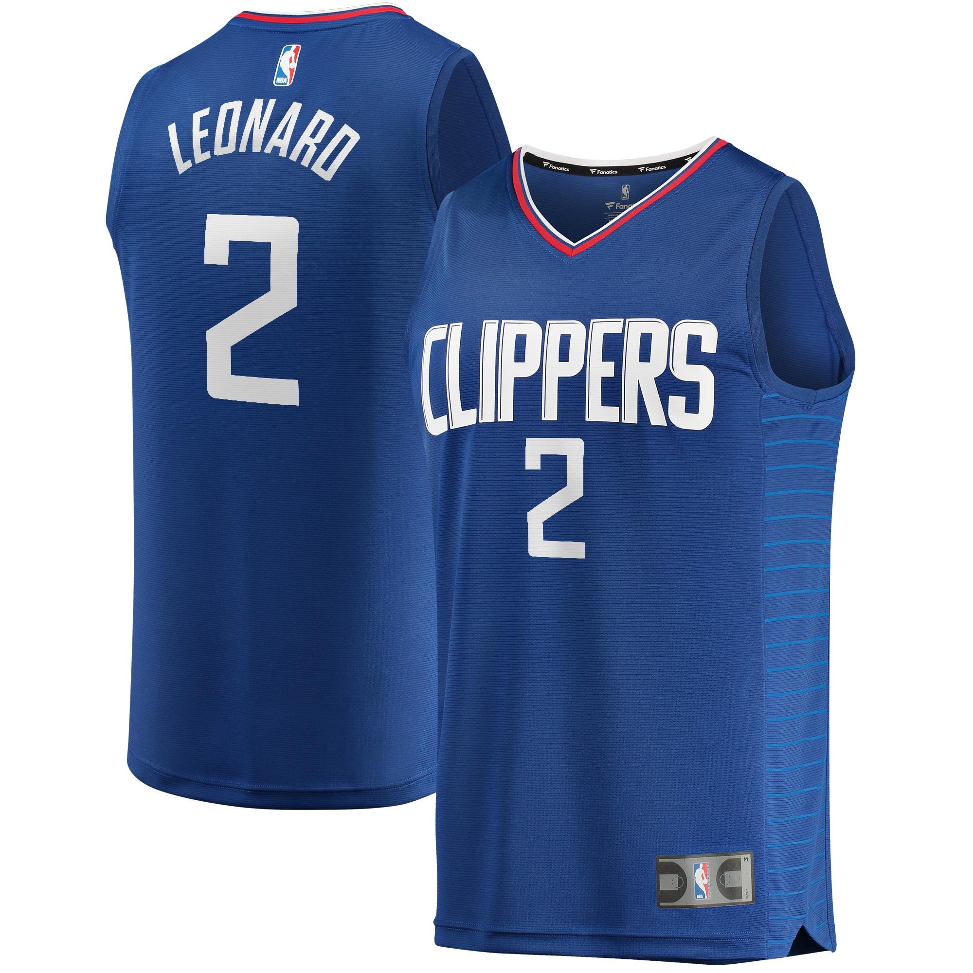 Kawhi Leonard LA Clippers Fanatics Branded Youth 2019/20 Fast Break Replica Jersey Blue - Icon Edition