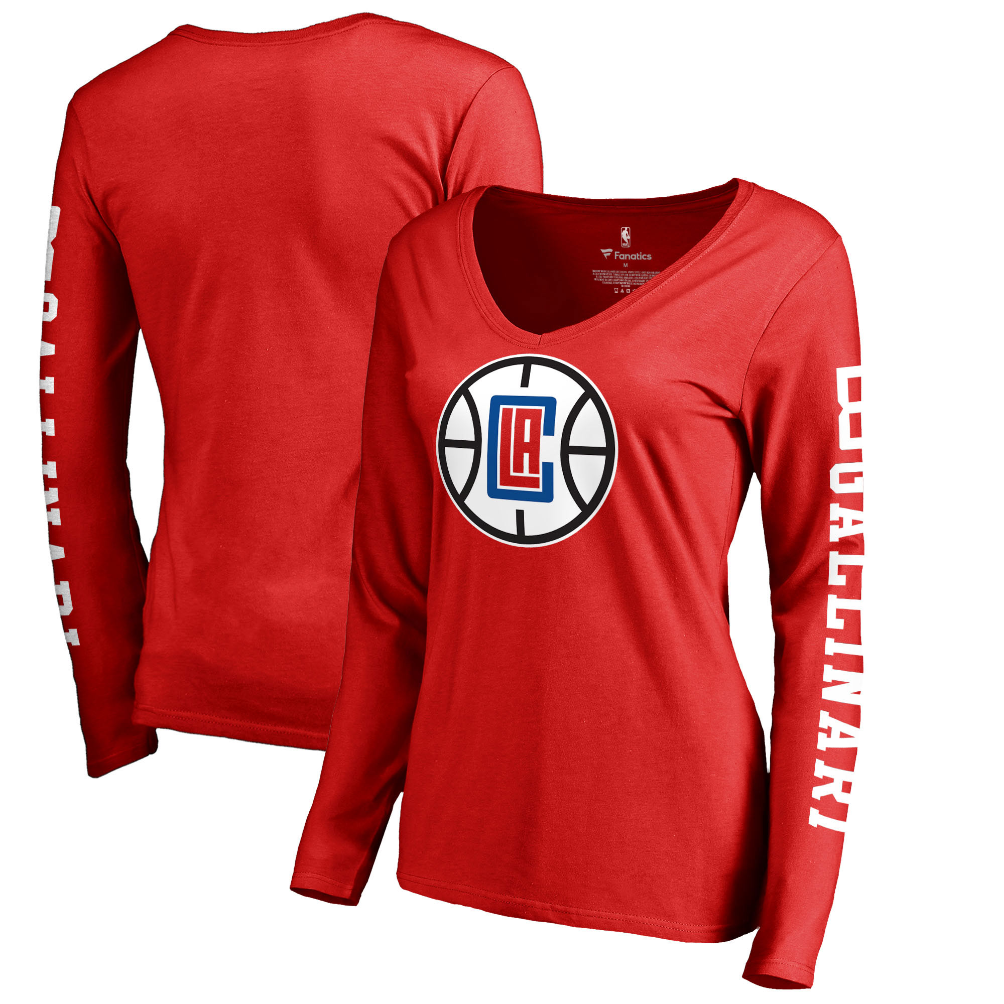 Danilo Gallinari LA Clippers Fanatics Branded Women's Team Idol Name & Number Long Sleeve V-Neck T-Shirt - Red