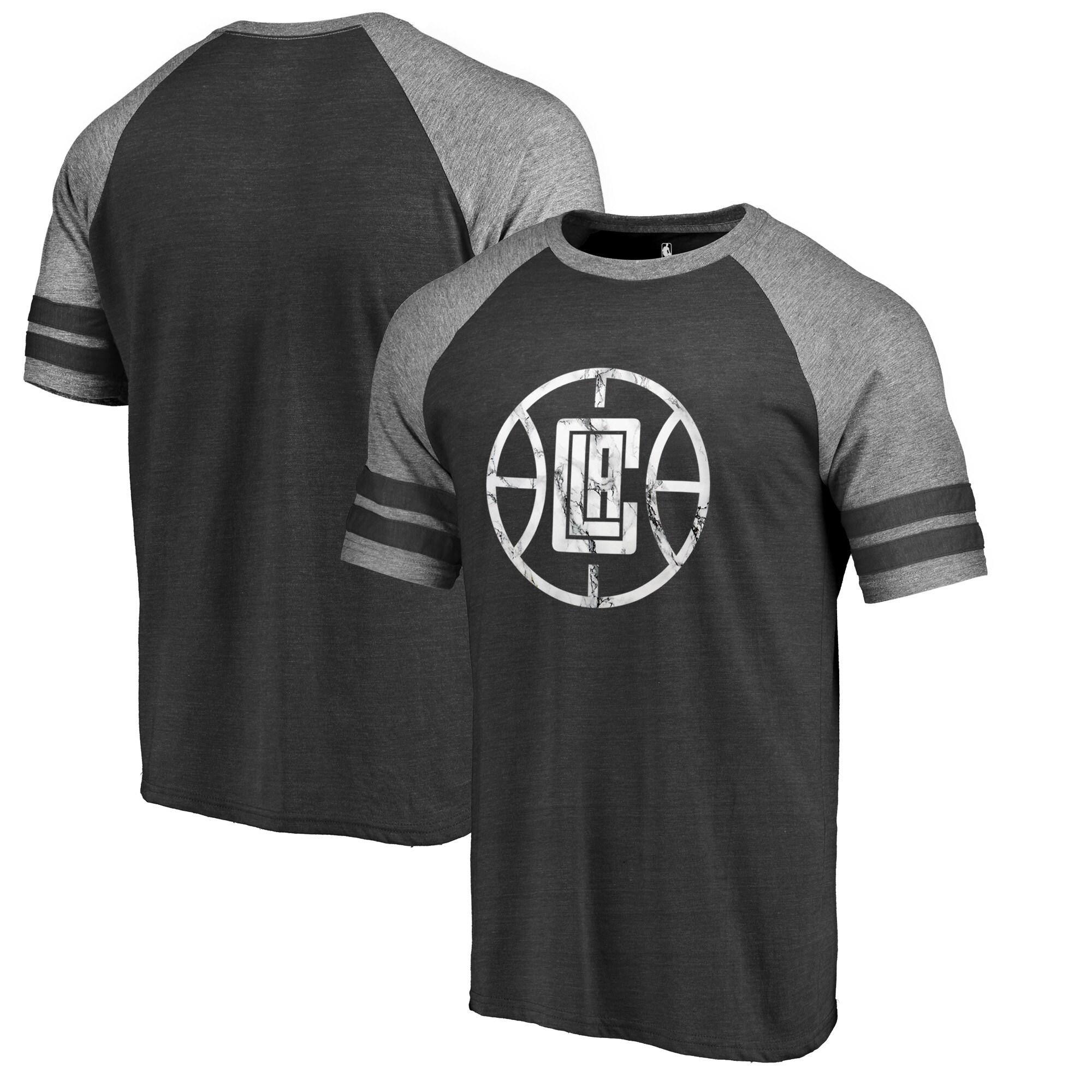LA Clippers Fanatics Branded Marble Logo Raglan T-Shirt - Black