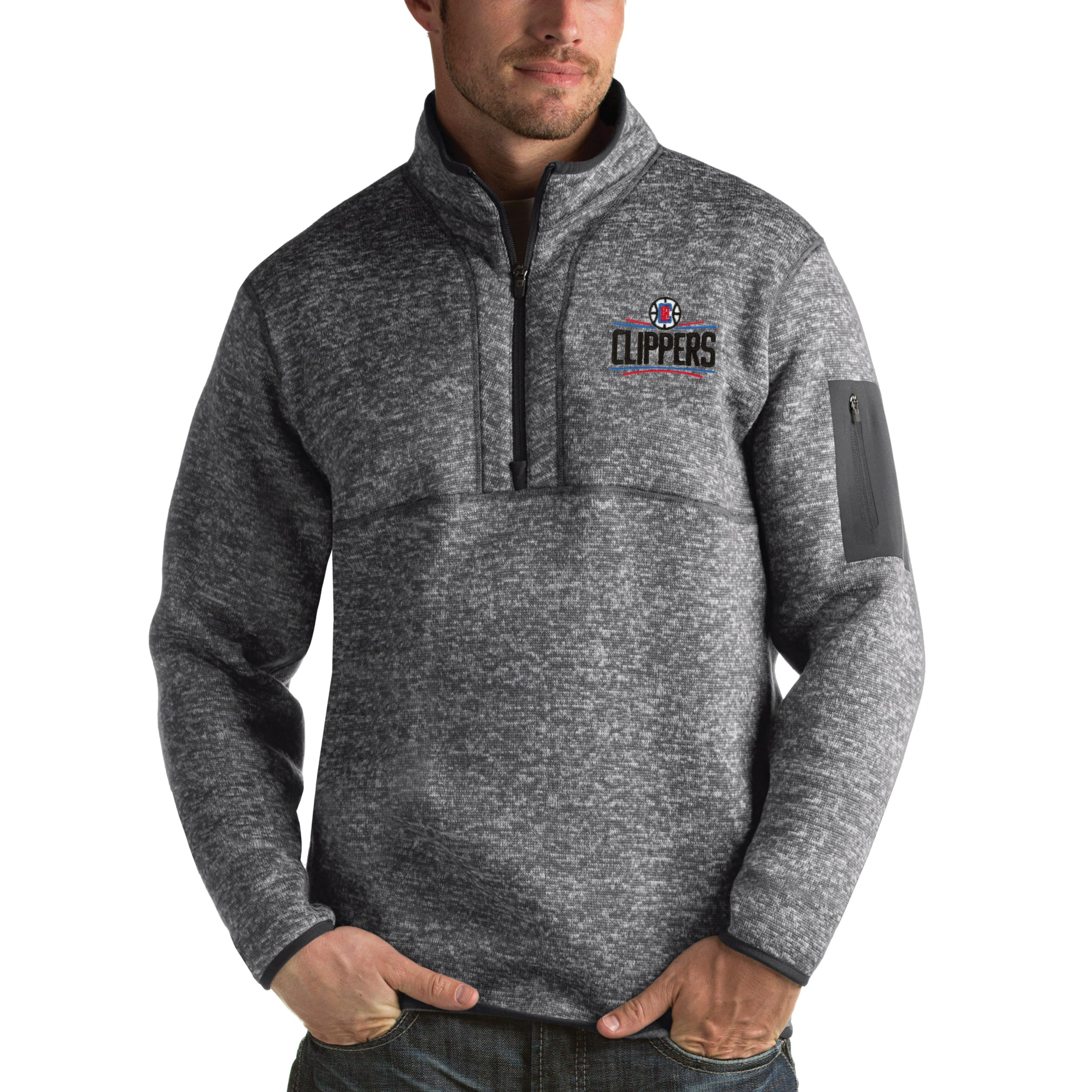 LA Clippers Antigua Fortune 1/2-Zip Pullover Jacket - Heathered Black