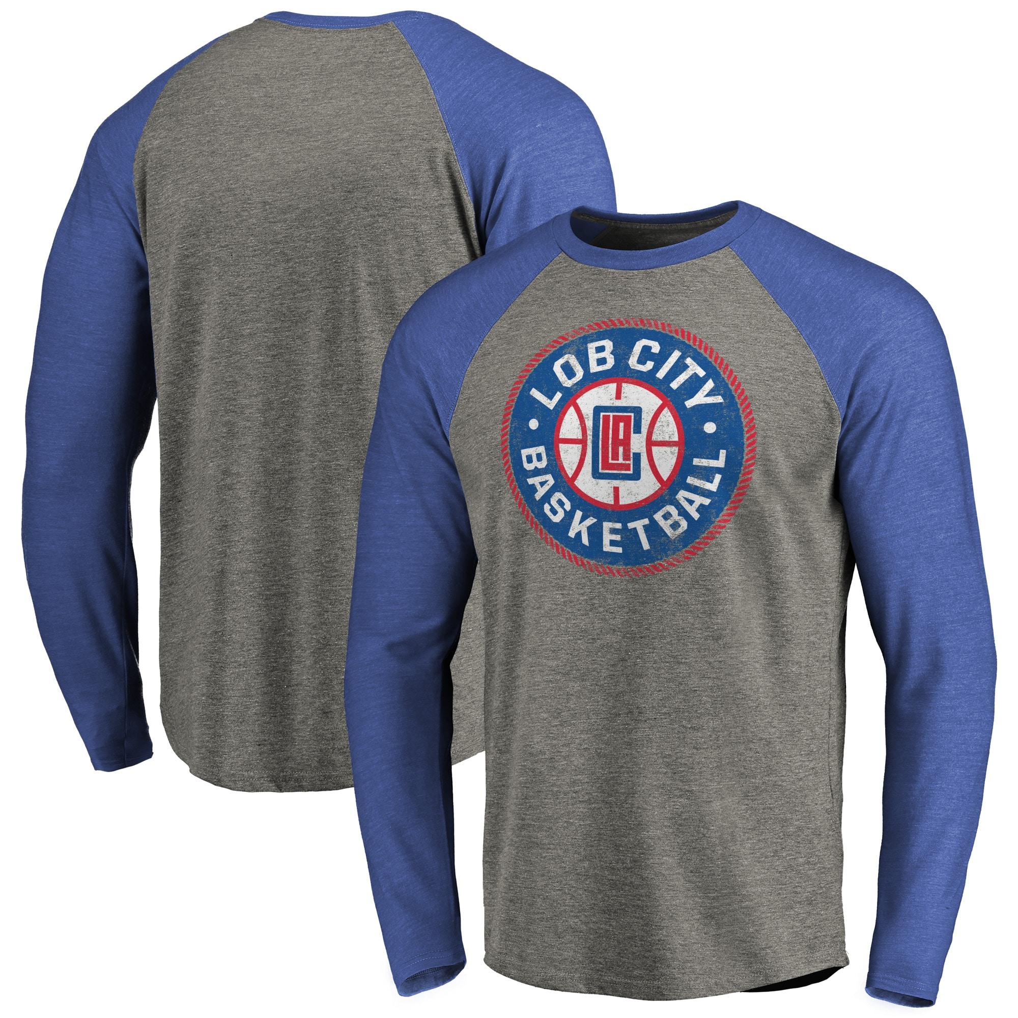LA Clippers Fanatics Branded Hometown Collection Lob City Long Sleeve Tri-Blend Raglan T-Shirt - Ash