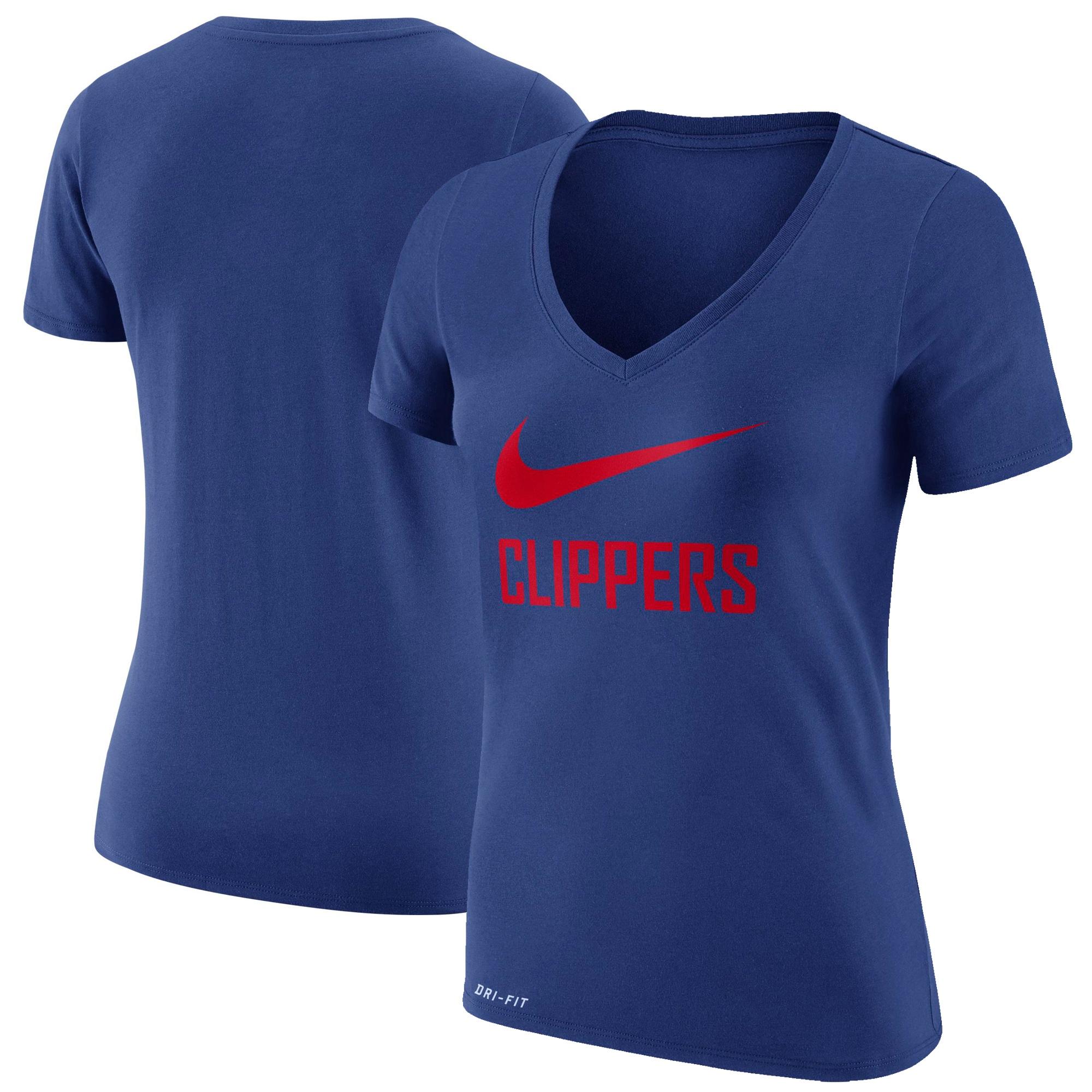 LA Clippers Nike Women's Swoosh V-Neck T-Shirt - Royal