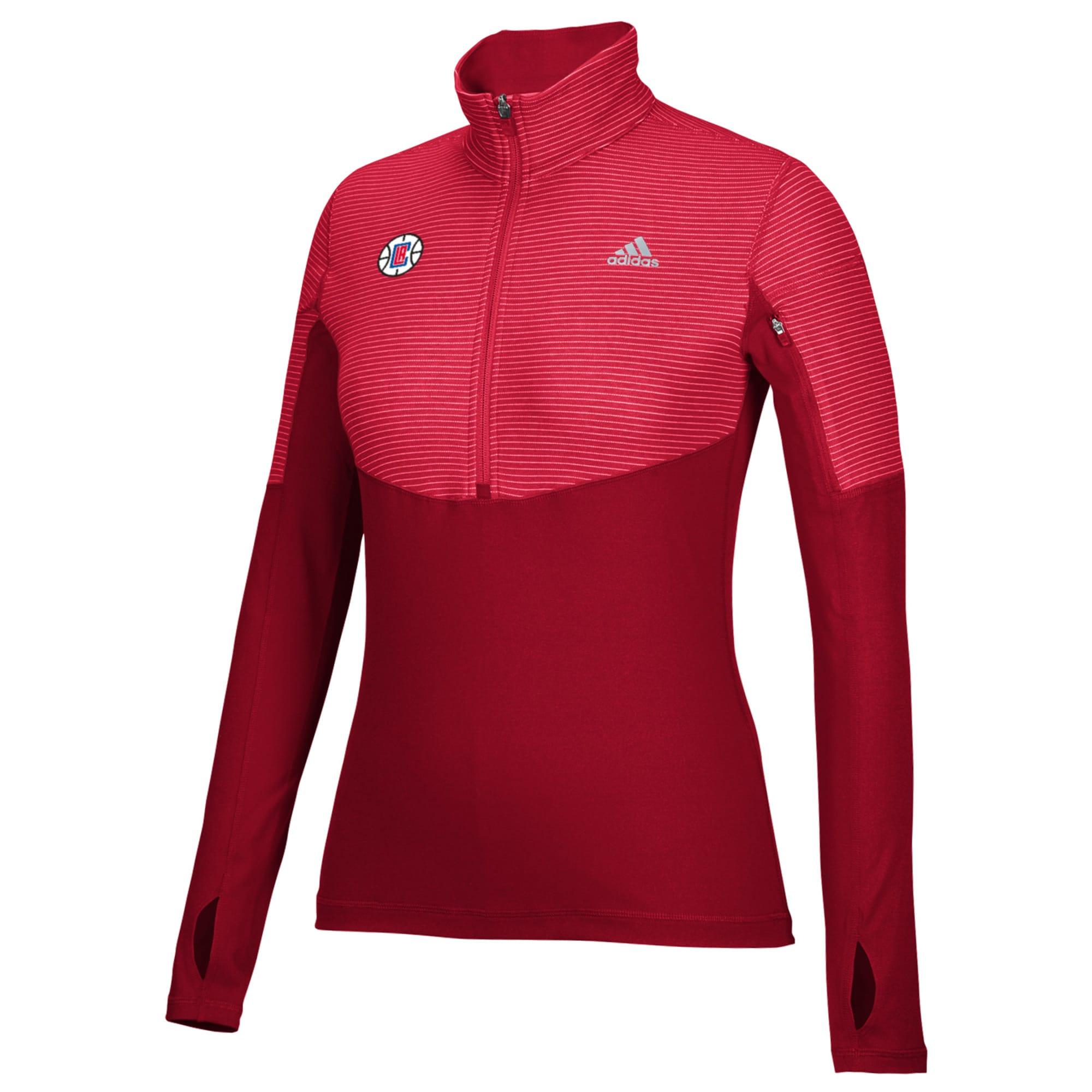 LA Clippers adidas Women's Team Logo Lightweight Performance Half-Zip Jacket - Red