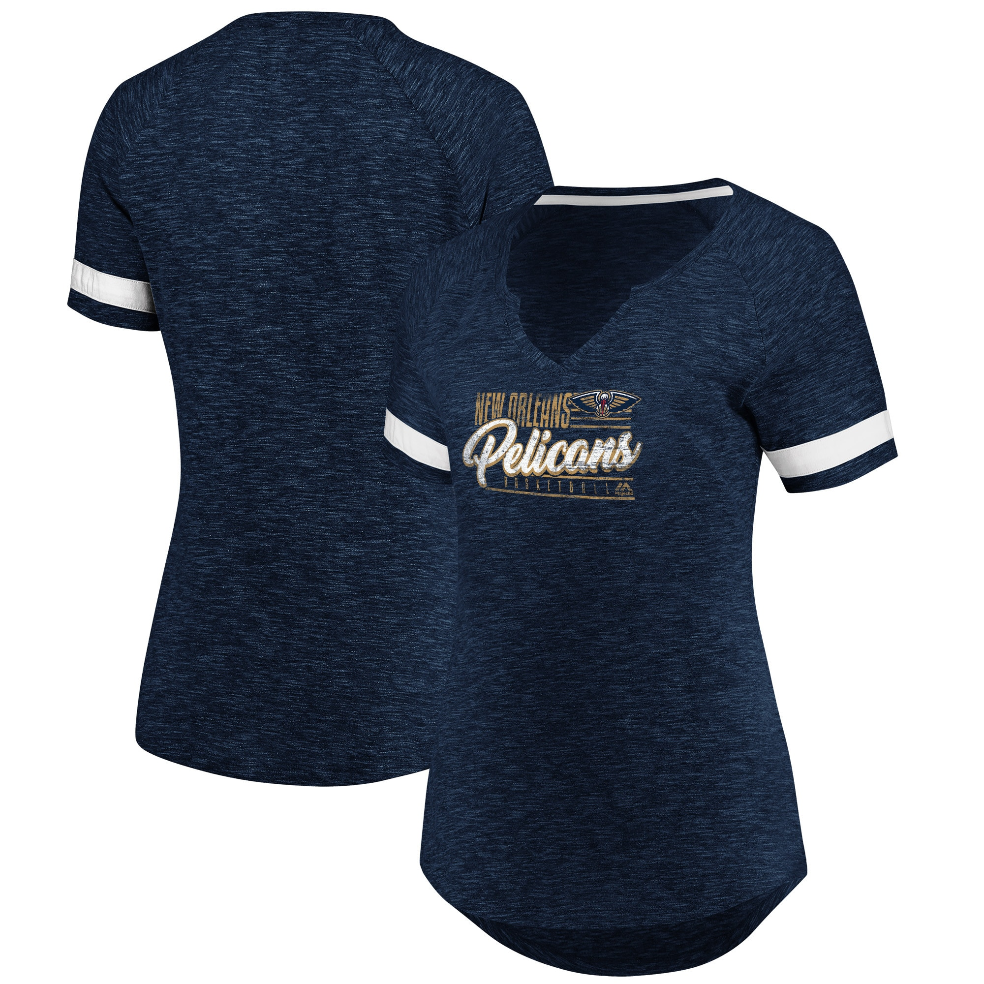 New Orleans Pelicans Fanatics Branded Women's Showtime Winning With Pride Notch Neck T-Shirt - Navy/White
