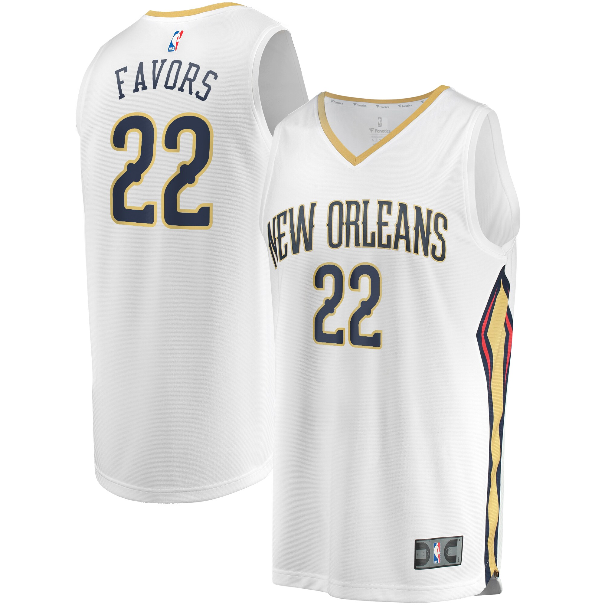 Derrick Favors New Orleans Pelicans Fanatics Branded Youth Fast Break Replica Jersey White - Association Edition