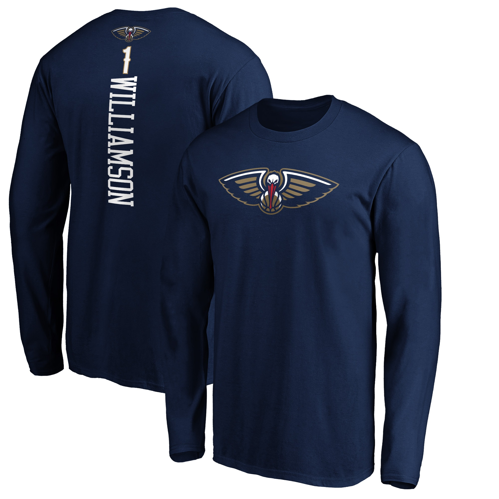 Zion Williamson New Orleans Pelicans Fanatics Branded Big & Tall Playmaker Name & Number Long Sleeve T-Shirt - Navy