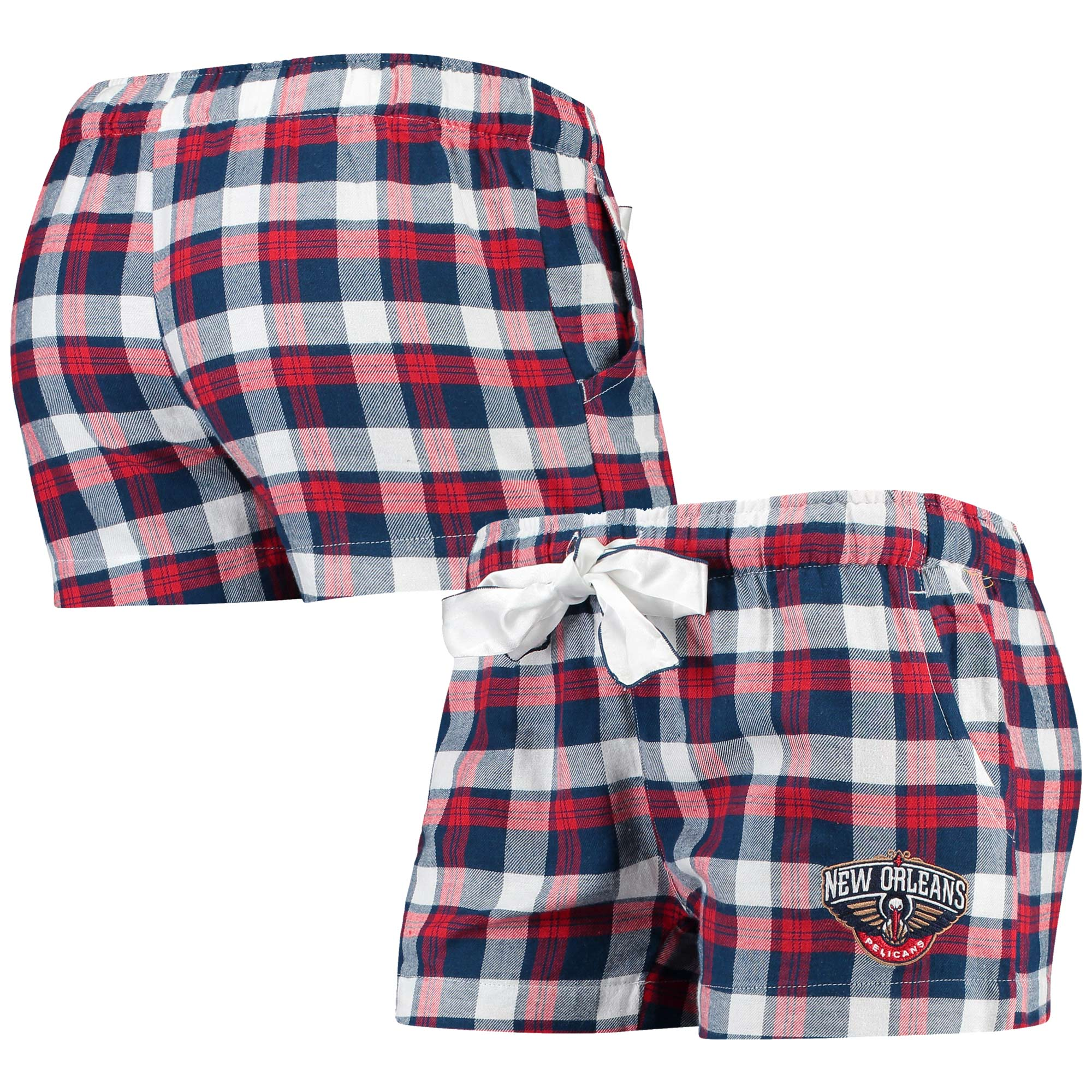 New Orleans Pelicans Concepts Sport Women's Piedmont Flannel Sleep Shorts - Navy/Red