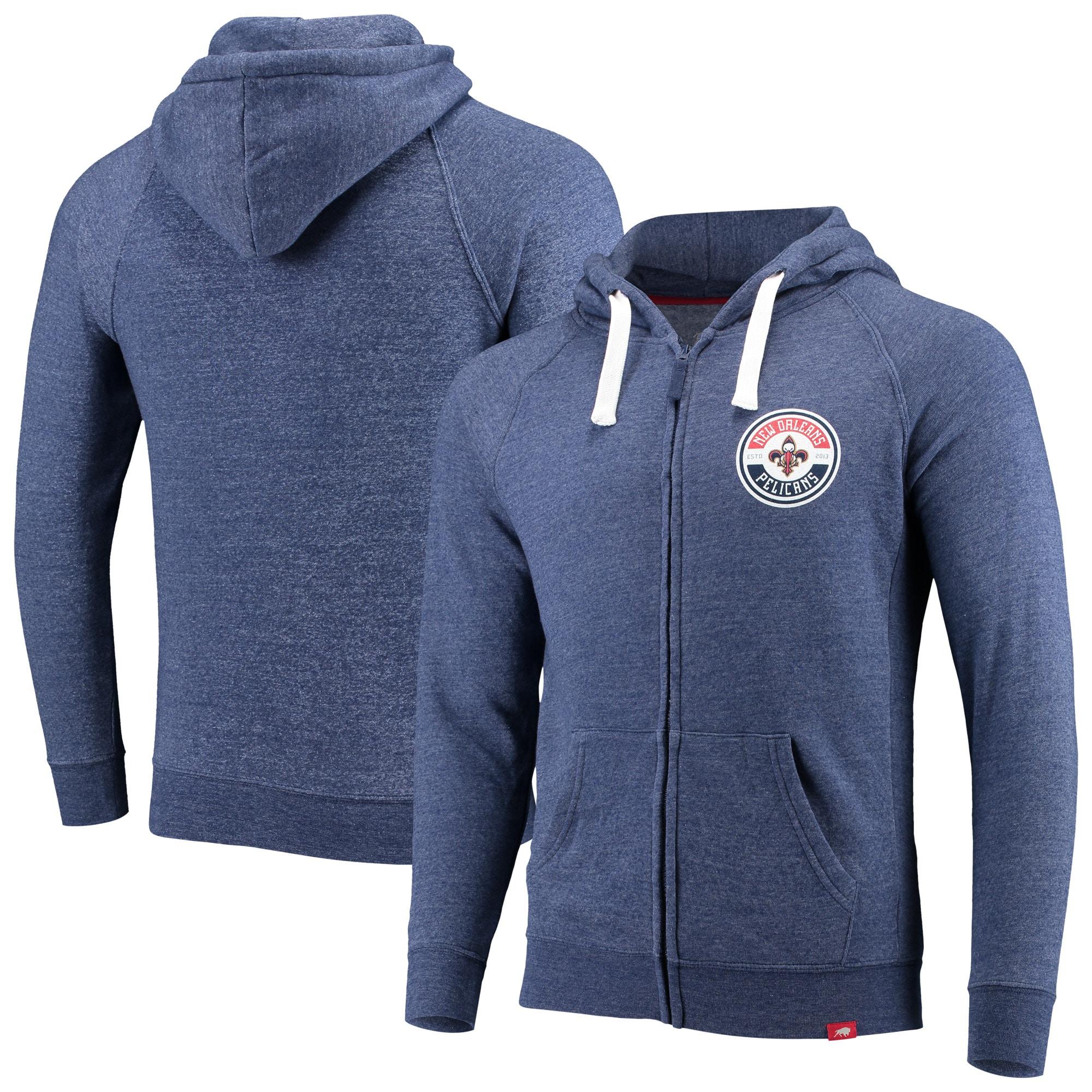 New Orleans Pelicans Sportiqe Heywood Comfort Tri-Blend Full-Zip Hoodie - Navy